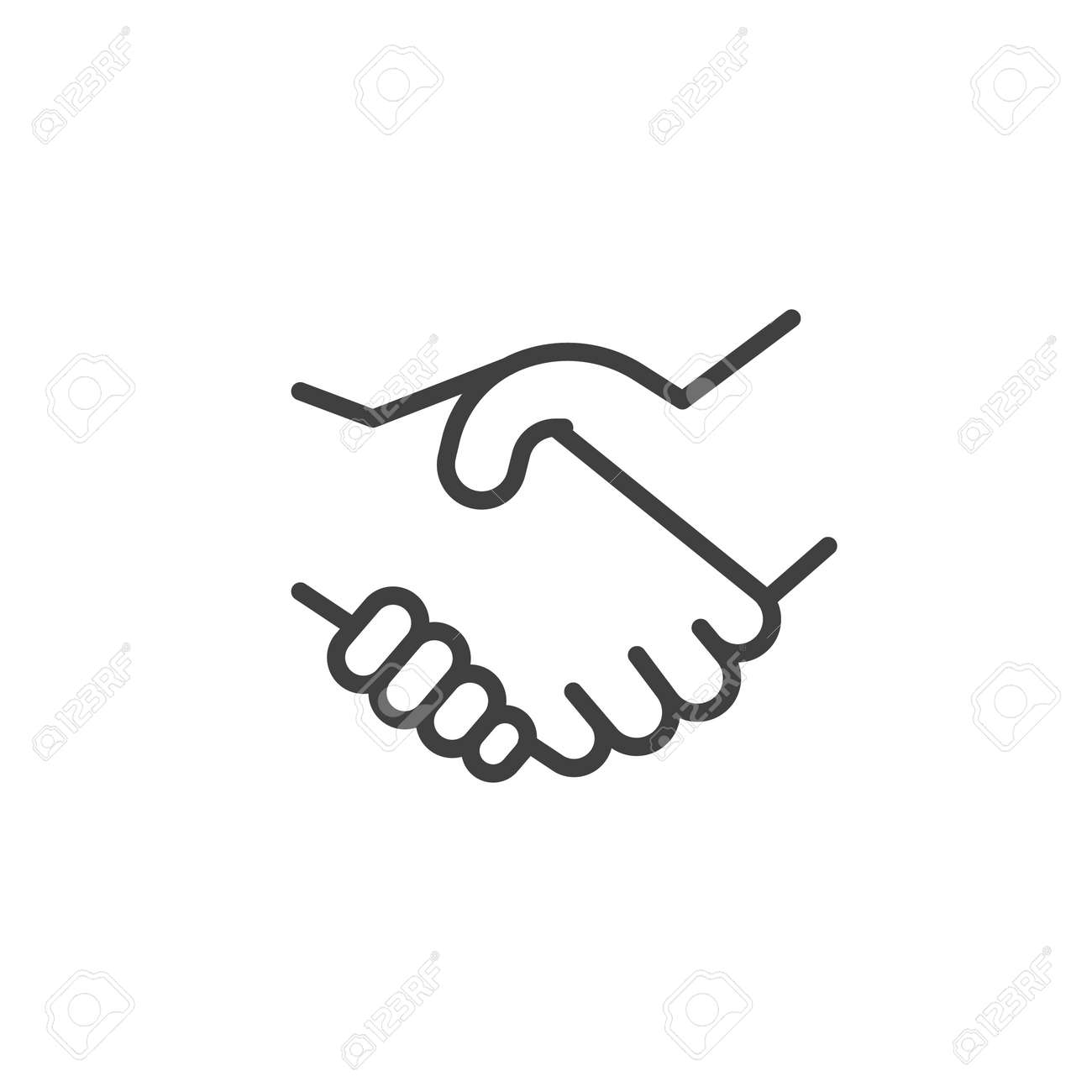 Handshake line icon. linear style sign for mobile concept and web design. Deal, hand gesture outline vector icon. Symbol, logo illustration. Vector graphics - 140898185