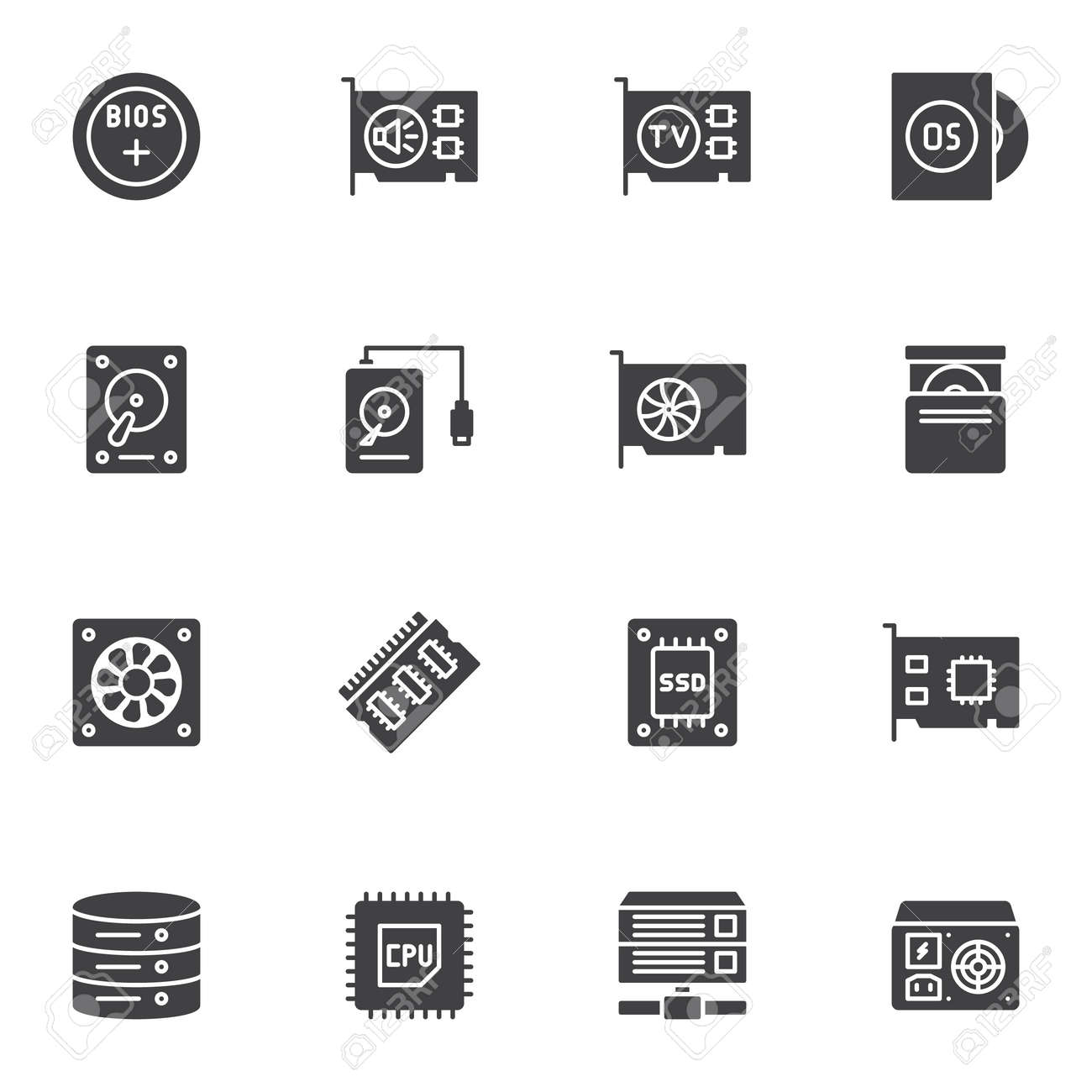 Computer electronics parts vector icons set, modern solid symbol collection, filled style pictogram pack. Signs, logo illustration. Set includes icons as HDD, sound card, SSD, CPU processor, database - 140714036