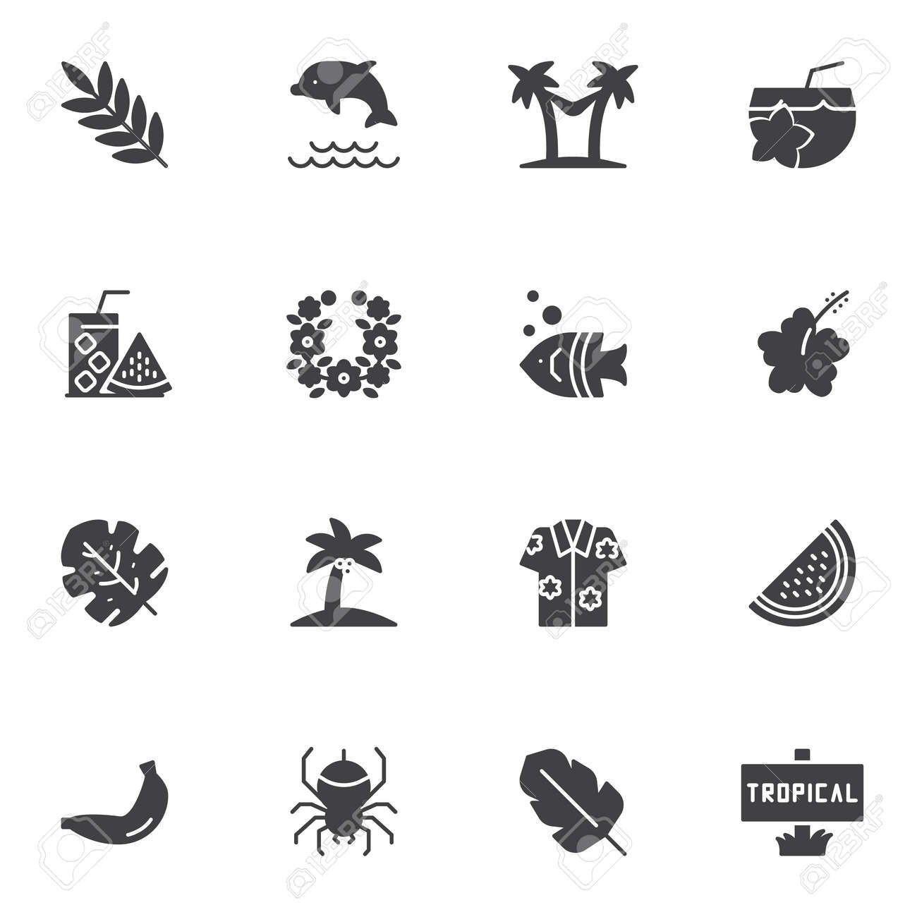 Tropical vacation vector icons set, modern solid symbol collection, filled style pictogram pack. Signs, logo illustration. Set includes icons as palm tree beach, fresh lemonade, watermelon, cocktail - 147667130