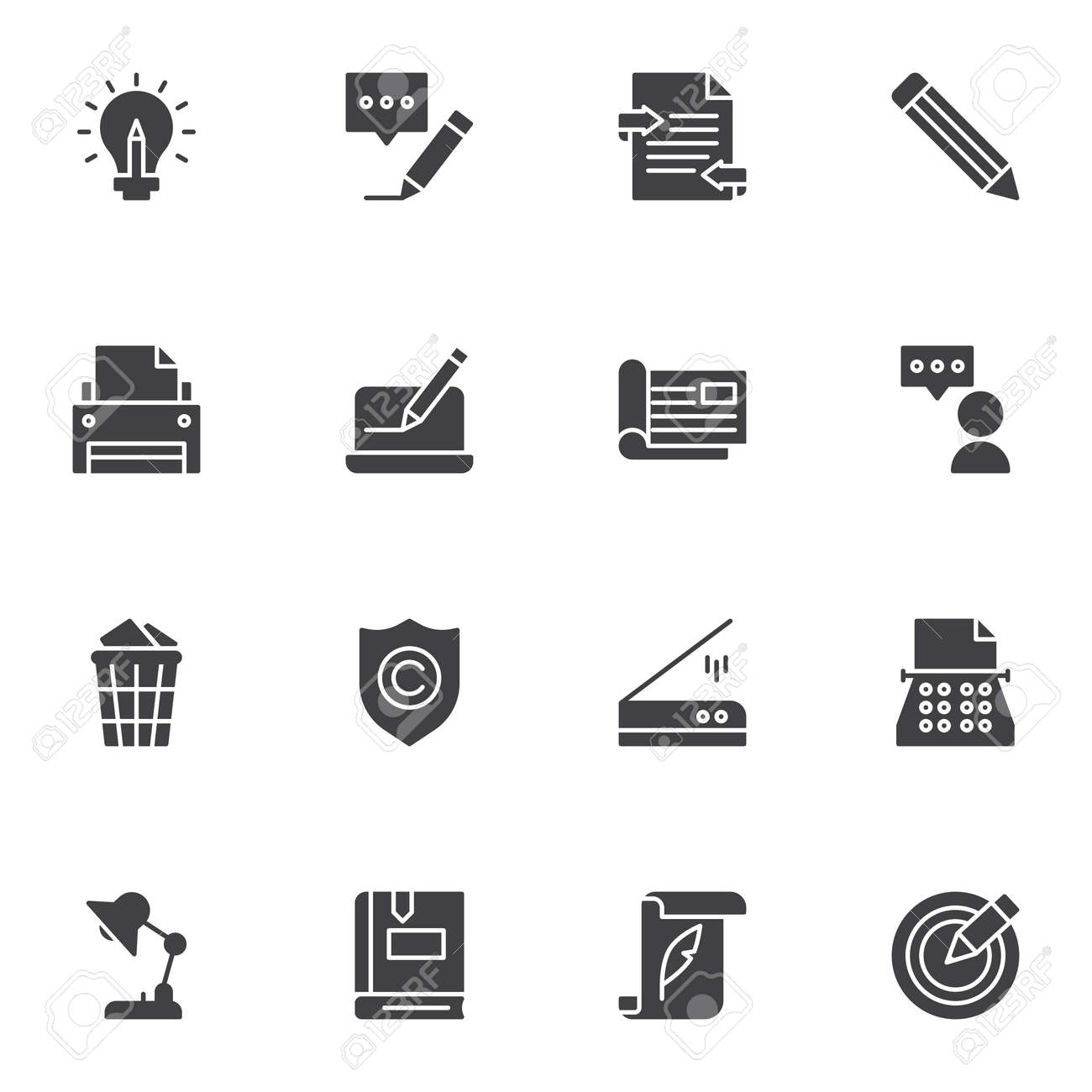 Copywriting related vector icons set, modern solid symbol collection, filled style pictogram pack. Signs, logo illustration. Set includes icons as message writing, typewriter machine, printer, book - 151501512