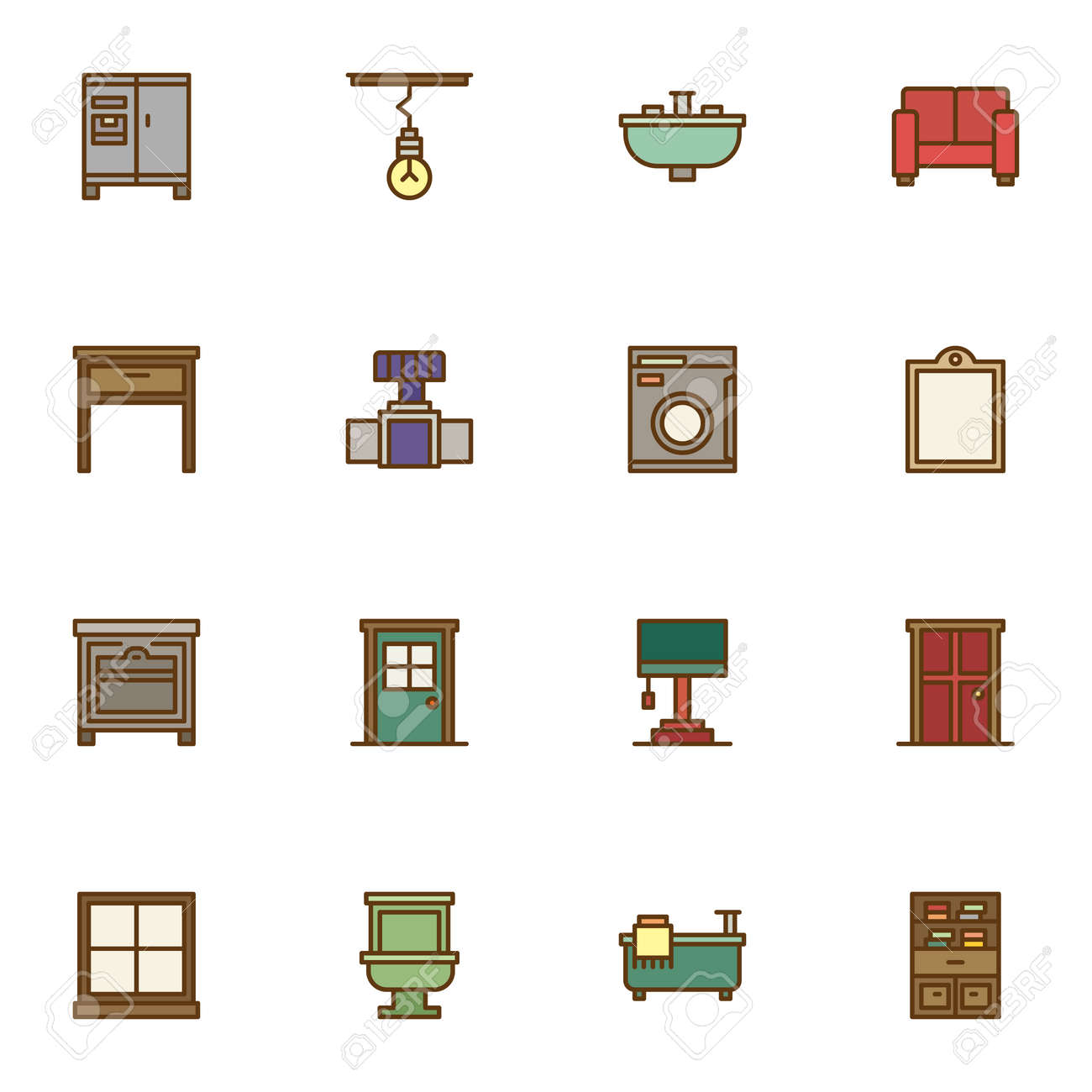 Interior furniture filled outline icons set, line vector symbol collection, linear colorful pictogram pack. Signs, illustration, Set includes icons as household equipment, sofa, bathtub, toilet - 151924474