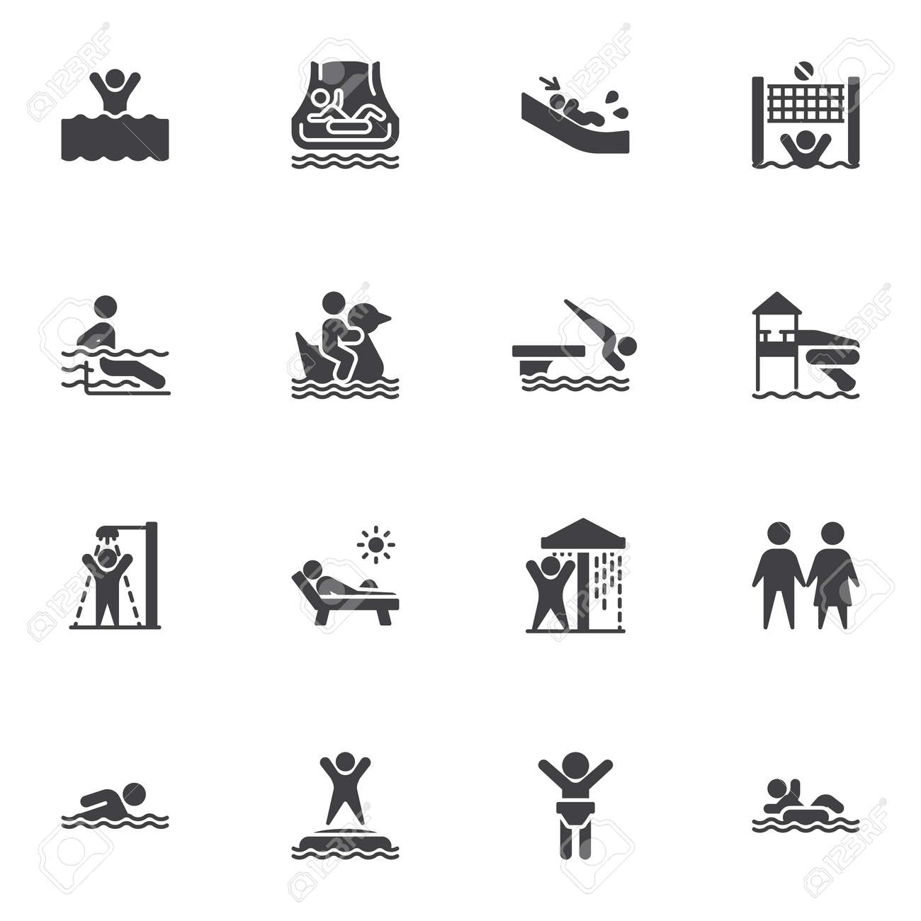 Water park vector icons set, aqua park modern solid symbol collection, filled style pictogram pack. Signs, illustration. Set includes icons as swimming pool, shower, water slide attraction - 155367849