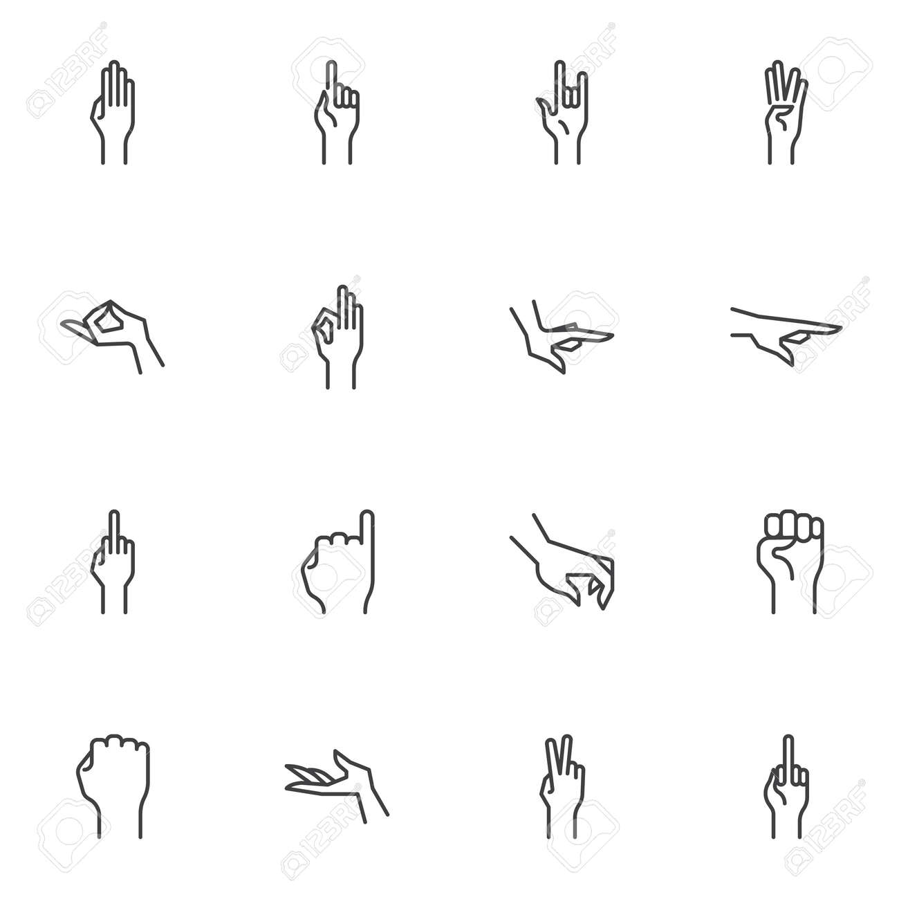 Human hand gestures line icons set, outline vector symbol collection, linear style pictogram pack. Signs, logo illustration. Set includes icons as arm fist up, hand ok sign, one finger pointing, palm - 157533041