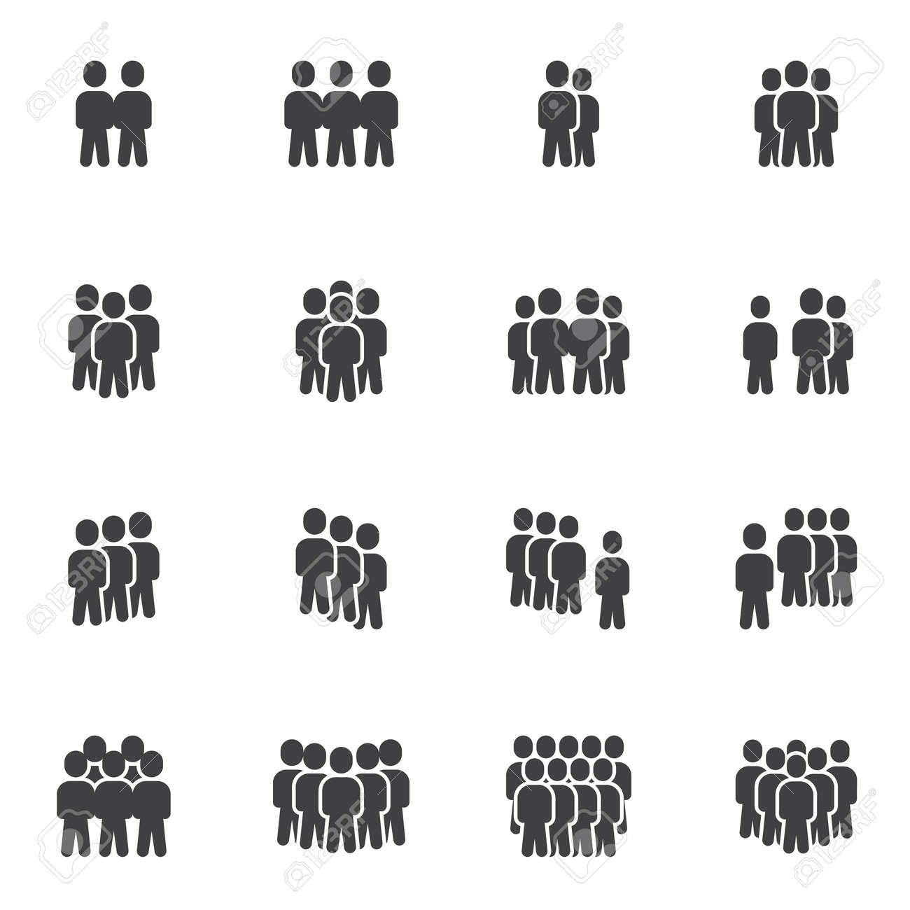 Crowd of people vector icons set, modern solid symbol collection, filled style pictogram pack. Signs, logo illustration. Set includes icons as business teamwork people group community, office employee - 158425304