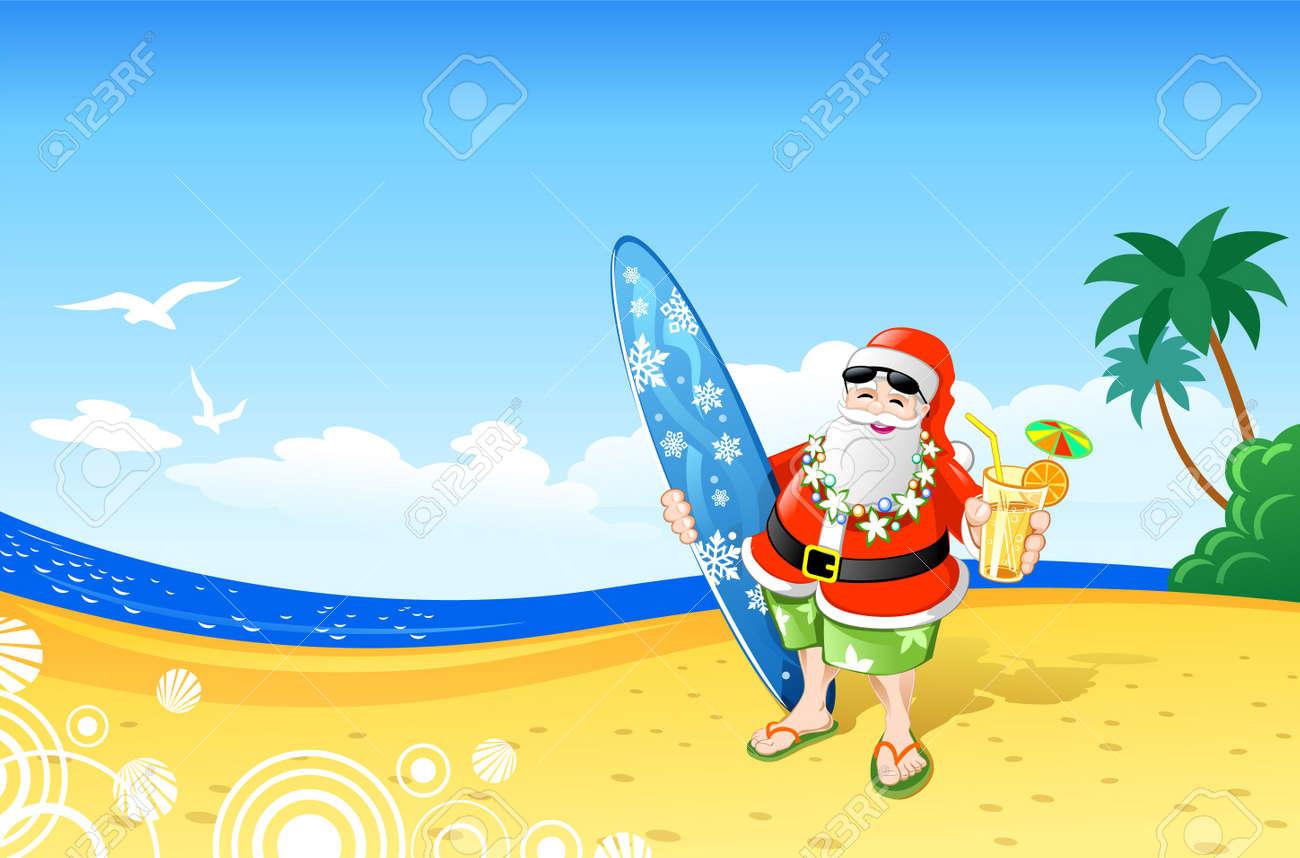 Christmas Santa on the Beach Stock Vector - 11110947