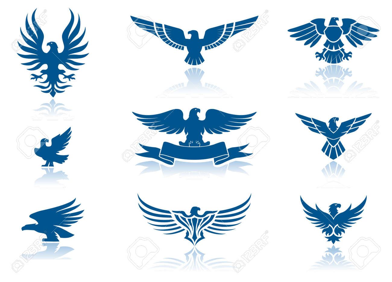 retro eagles insignias set royalty free cliparts vectors and stock illustration image 11238849 retro eagles insignias set
