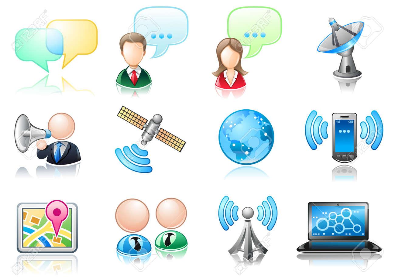 Communication theme icon set Stock Vector - 11238895