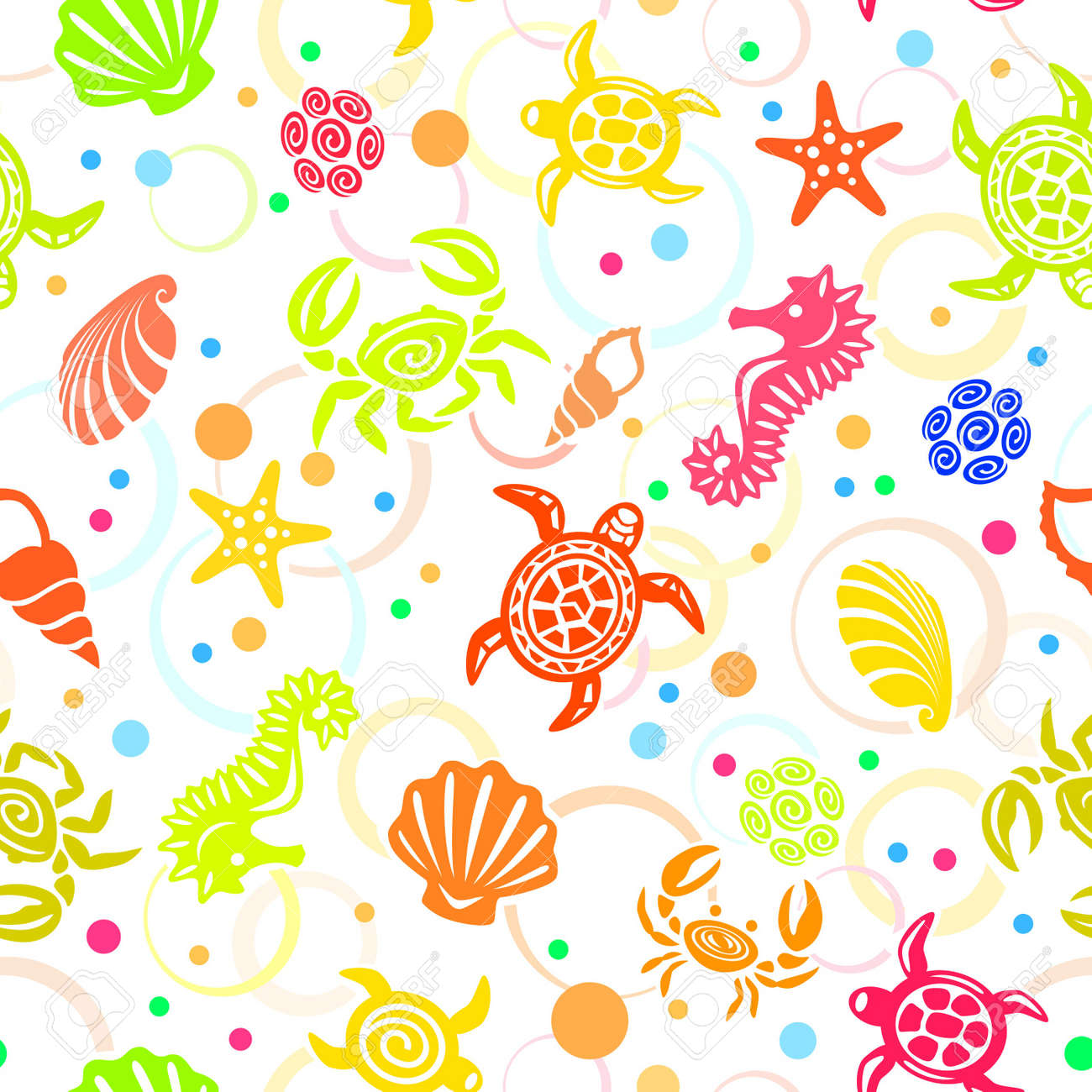 Seamless Sea Life Pattern Stock Vector - 11238965