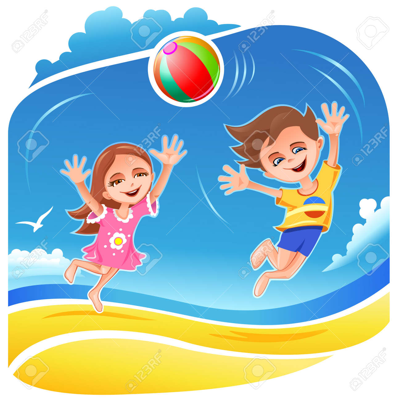 Boy and girl playing with ball on the beach Stock Vector - 11238873