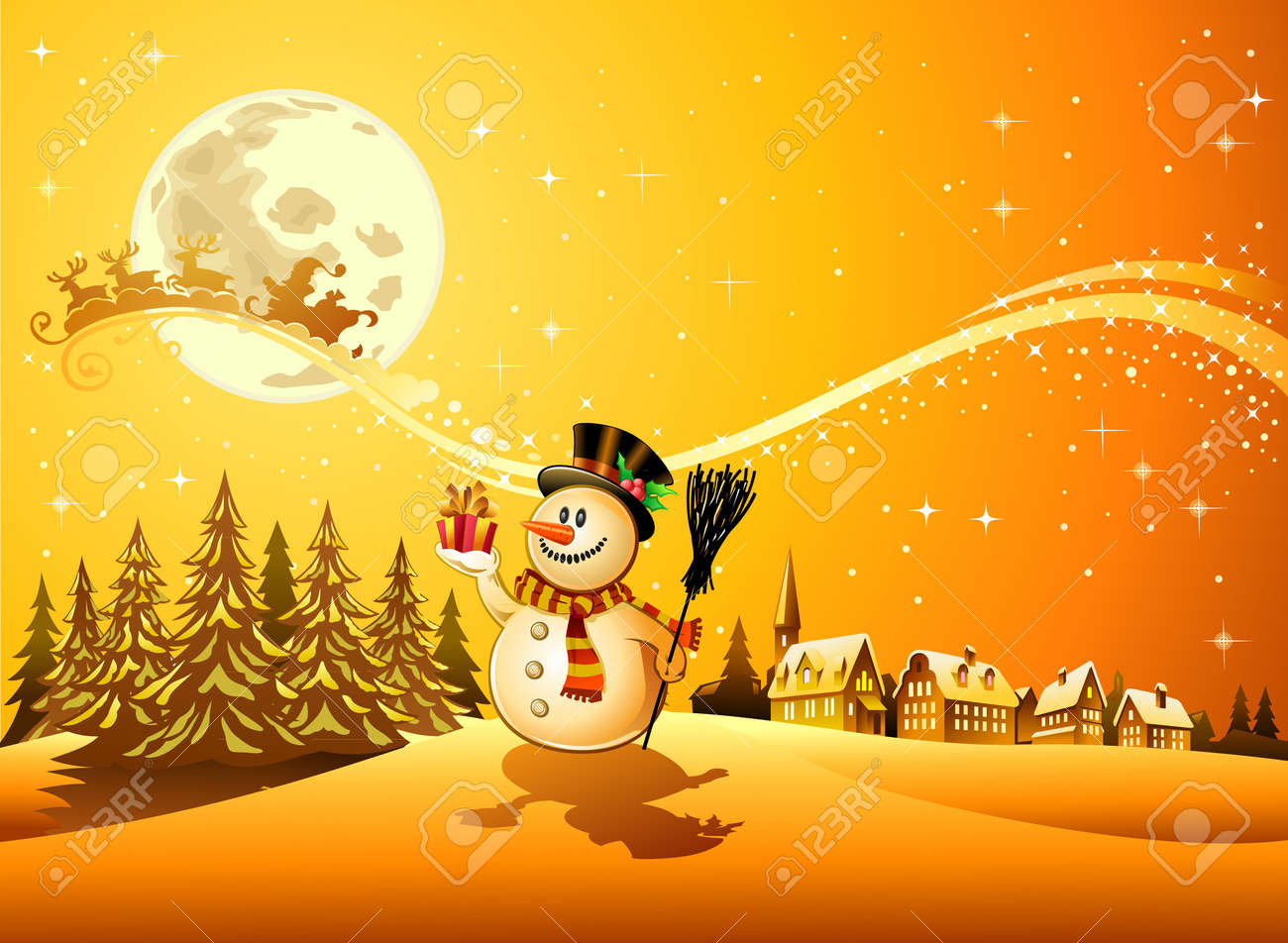Snowman with the gift 4 Stock Vector - 11386285