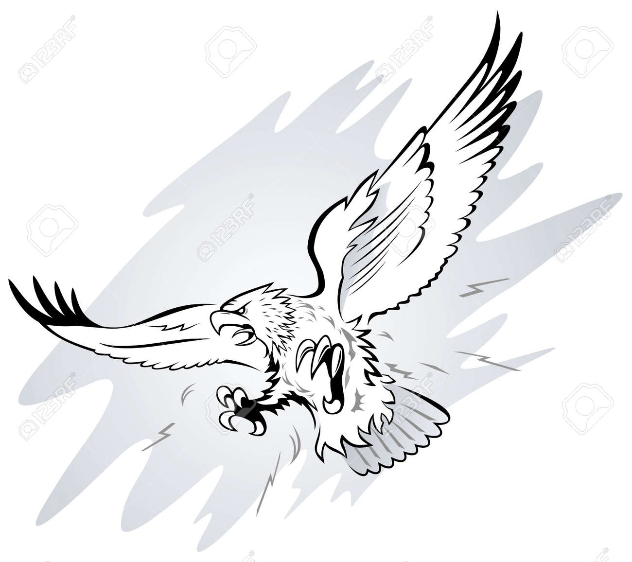 Spread Winged Eagle with Claws  Eagle Wings Spread Clipart Black And White