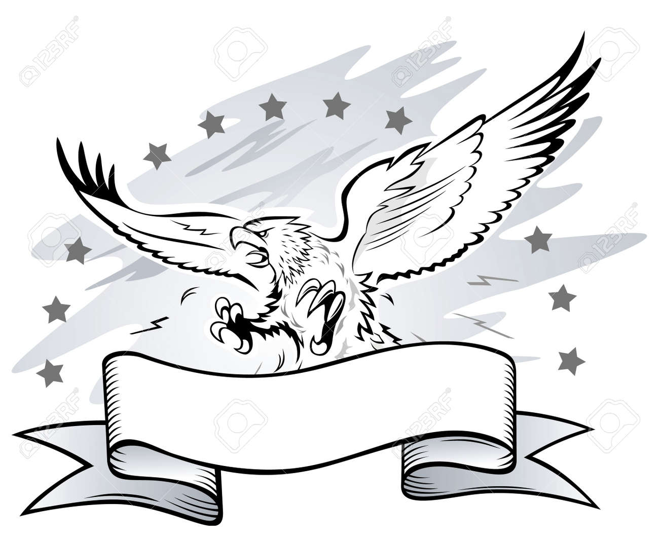 Spread Winged Ea   Eagle Wings Spread Clipart Black And White