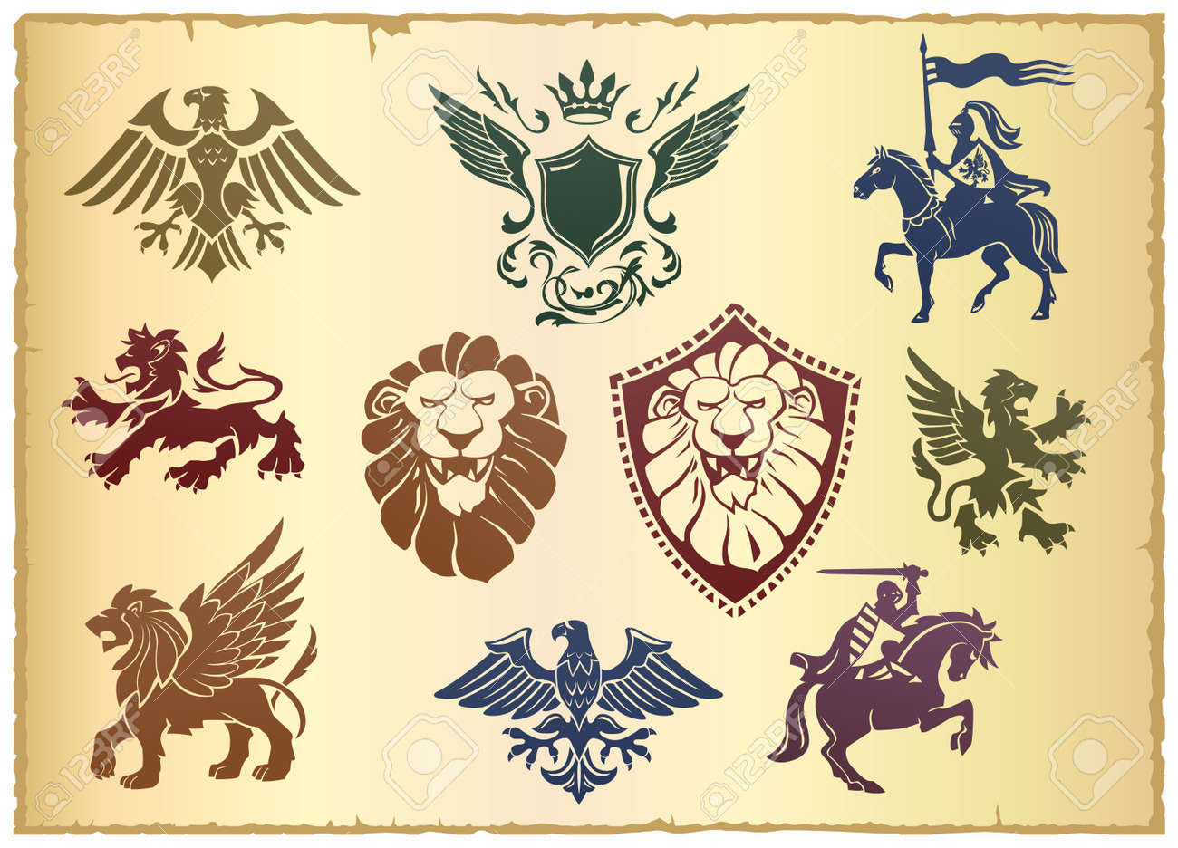 Heraldic Vector Set With Lion