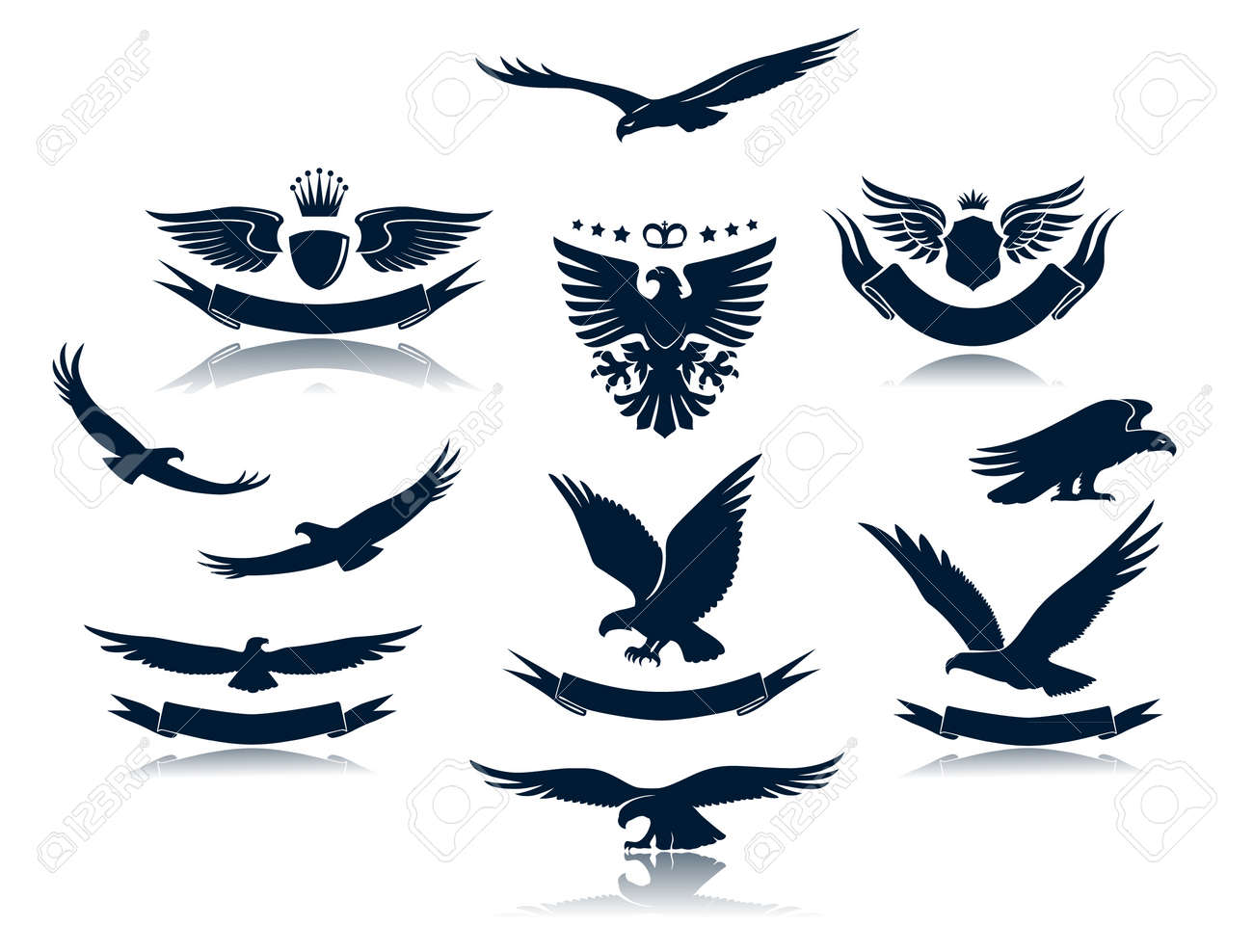 Eagle Silhouettes Set 3 Stock Vector - 14600750