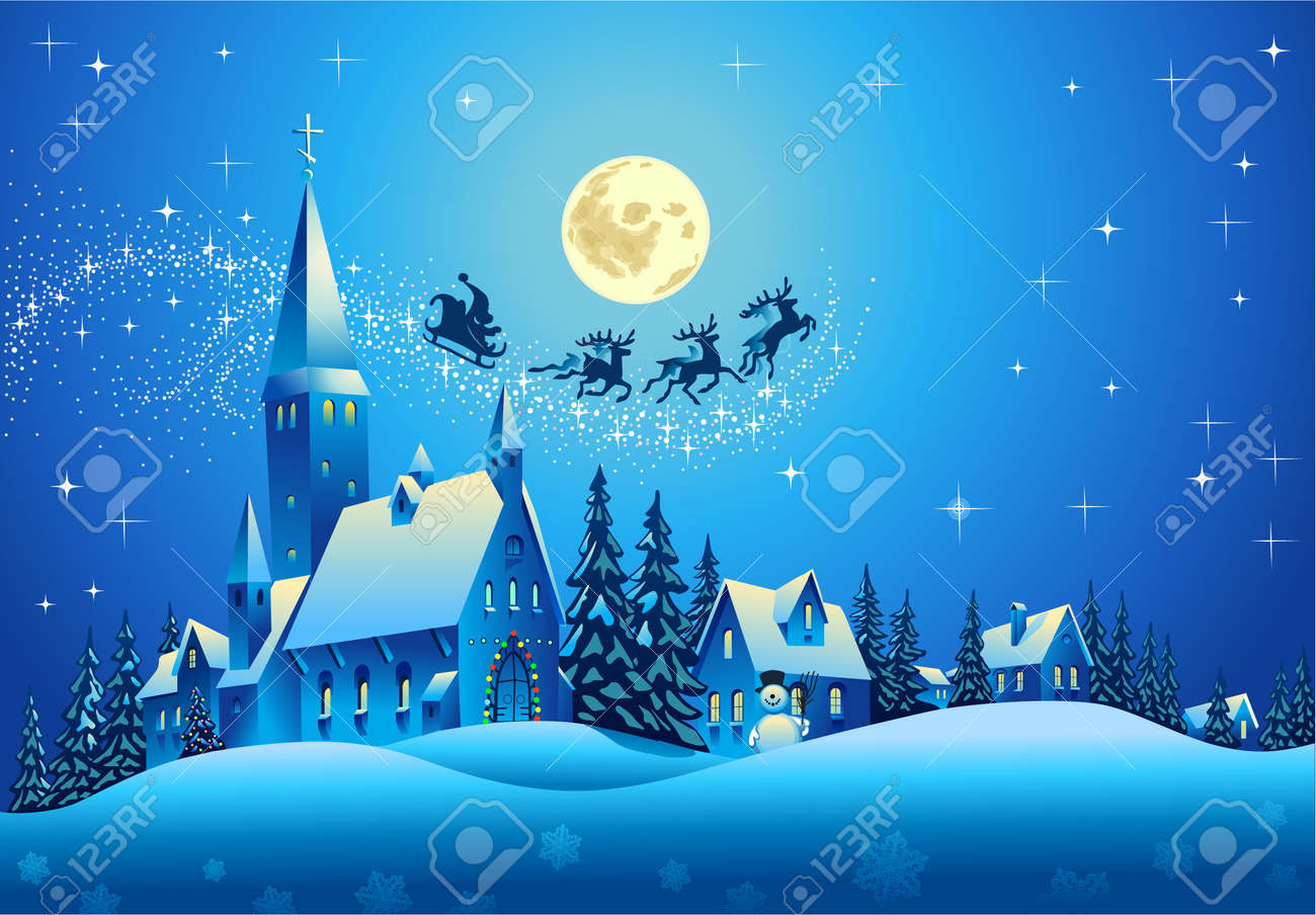 Church and Houses in the Christmas Night Stock Vector - 15822858