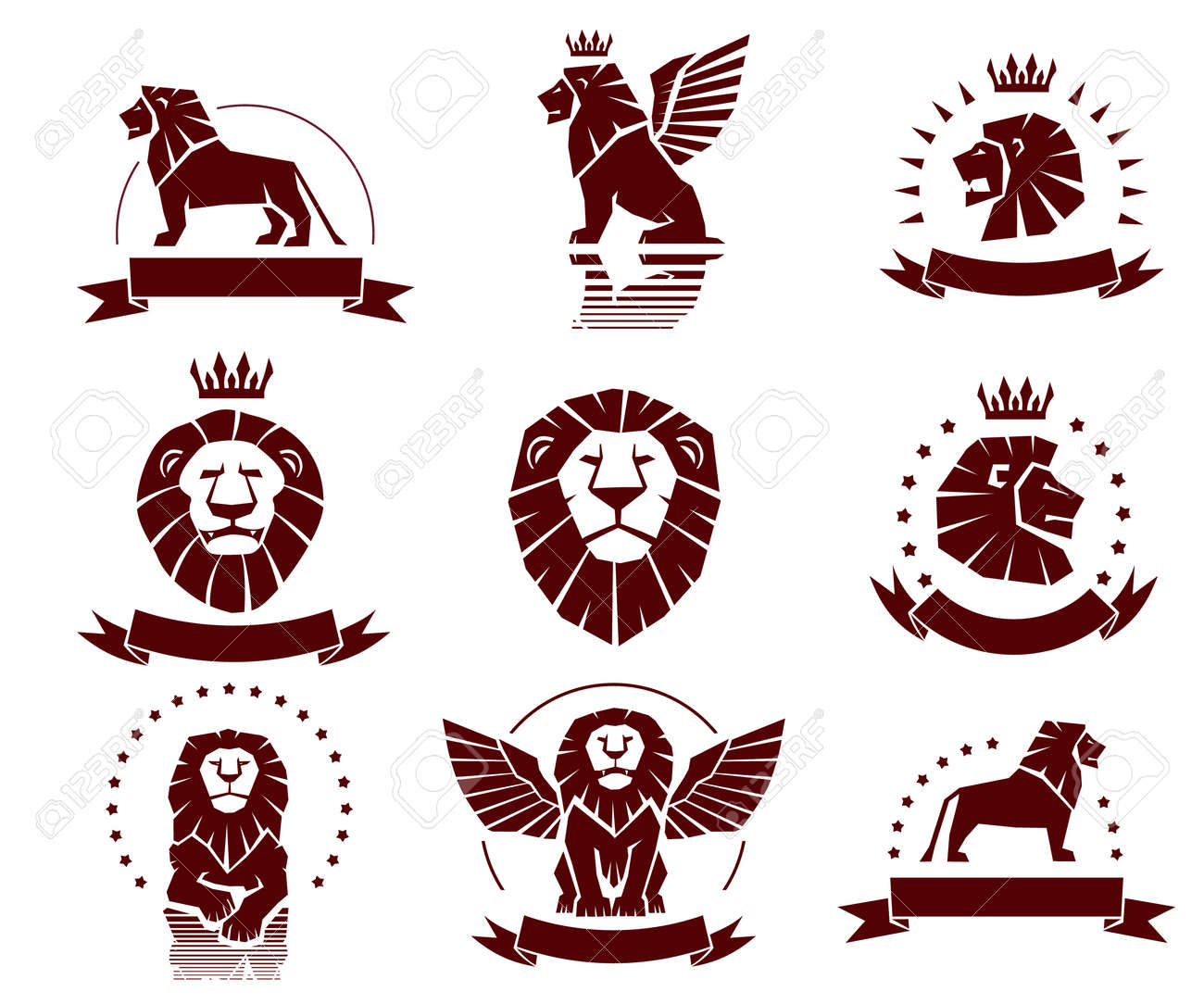 Winged lion stock photos royalty free business images a set of simple lions illustrations biocorpaavc Gallery