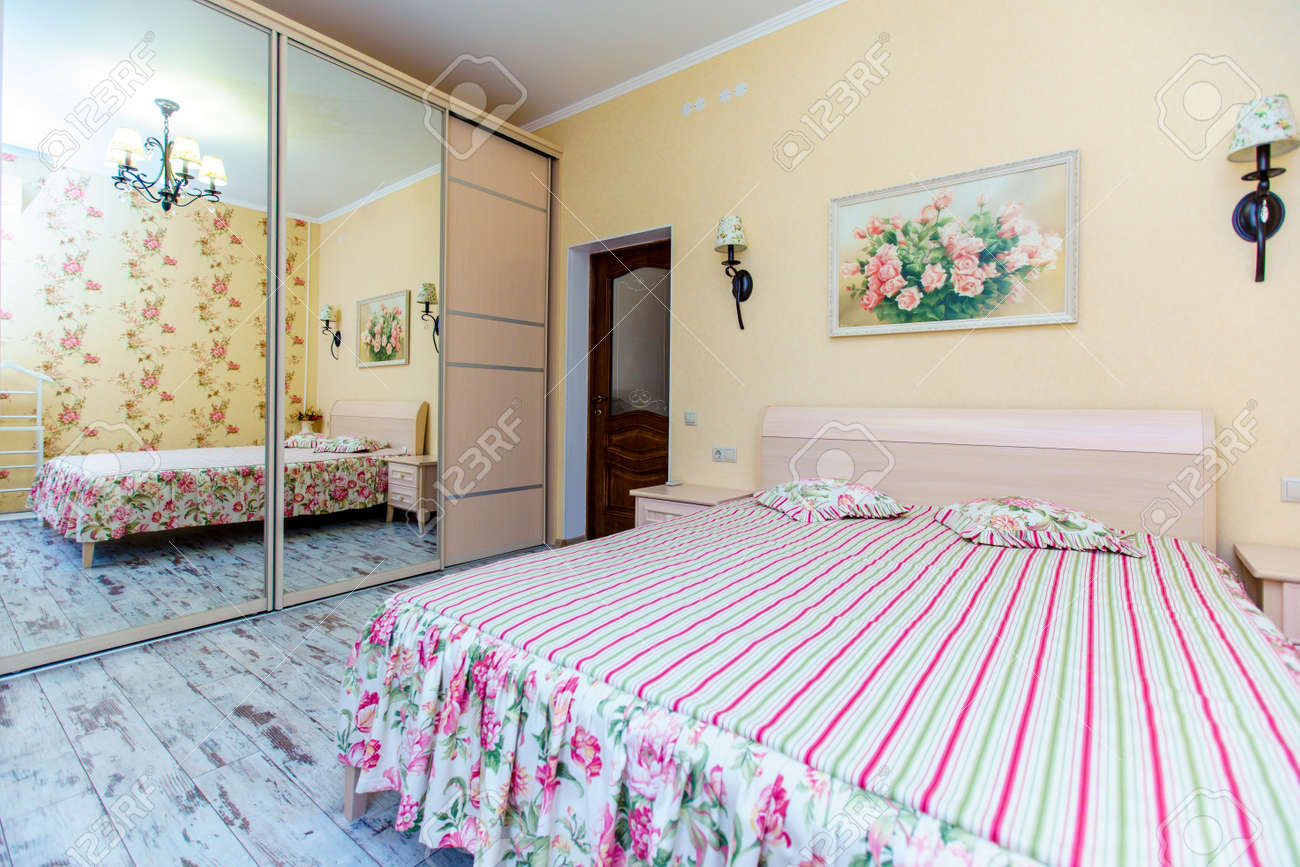 An Elegant Bedroom In The Provence Style Bright Wallpaper And Stock Photo Picture And Royalty Free Image Image 135629112