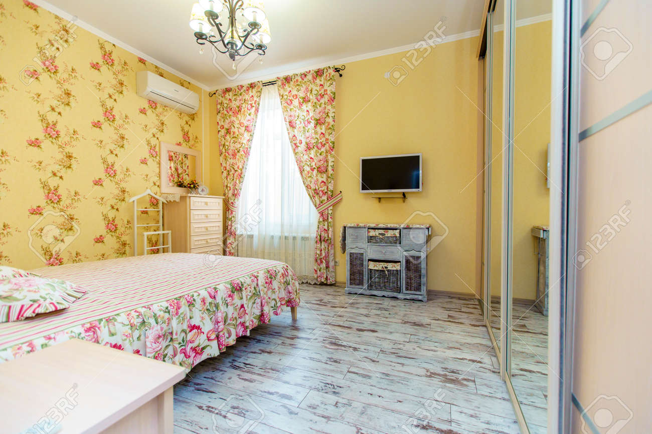 An Elegant Bedroom In The Provence Style Bright Wallpaper And Stock Photo Picture And Royalty Free Image Image 135629185