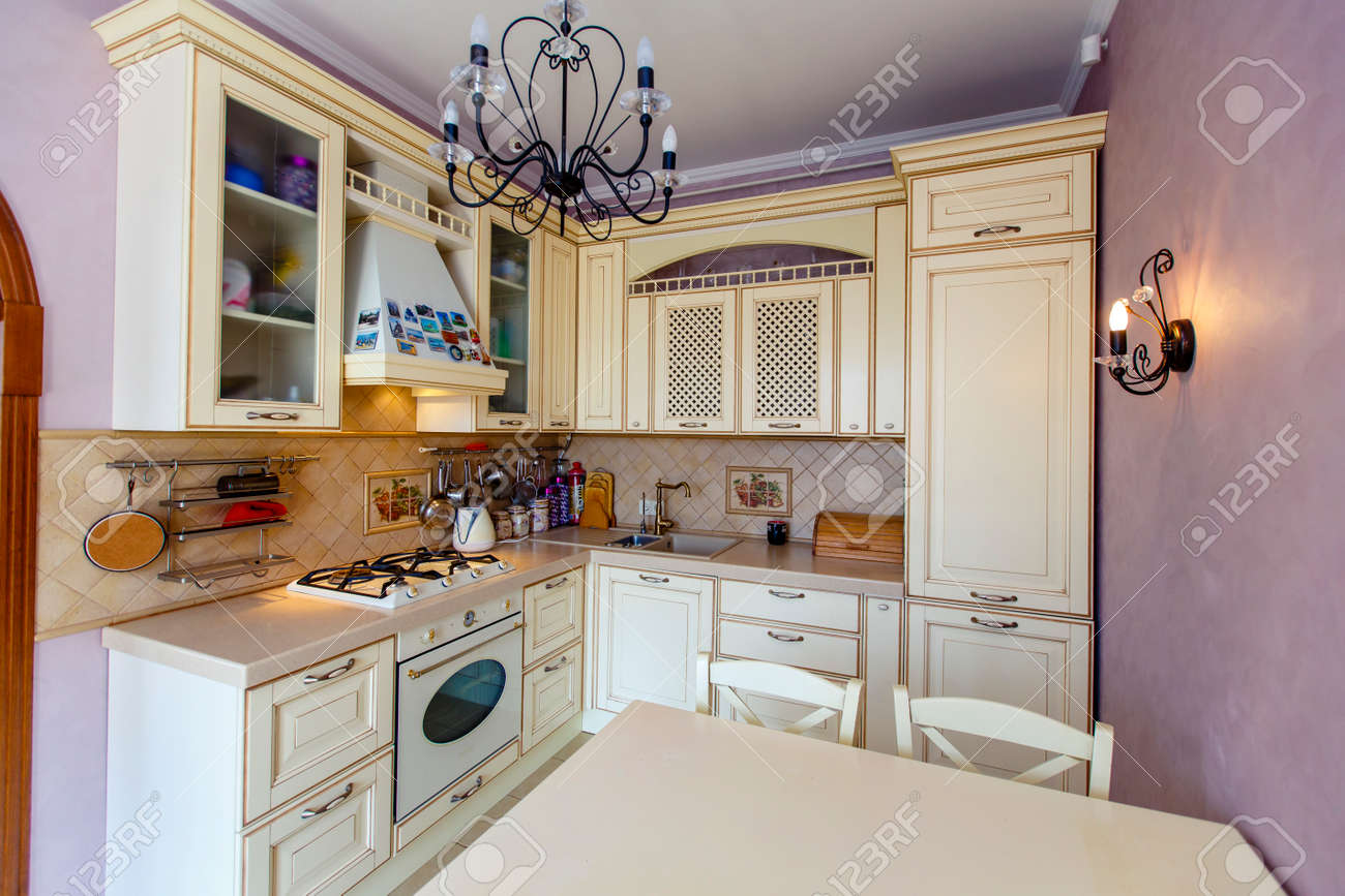 Rich Luxury Modern Beige Kitchen In Provence Style Pink Wall Stock Photo Picture And Royalty Free Image Image 138170685