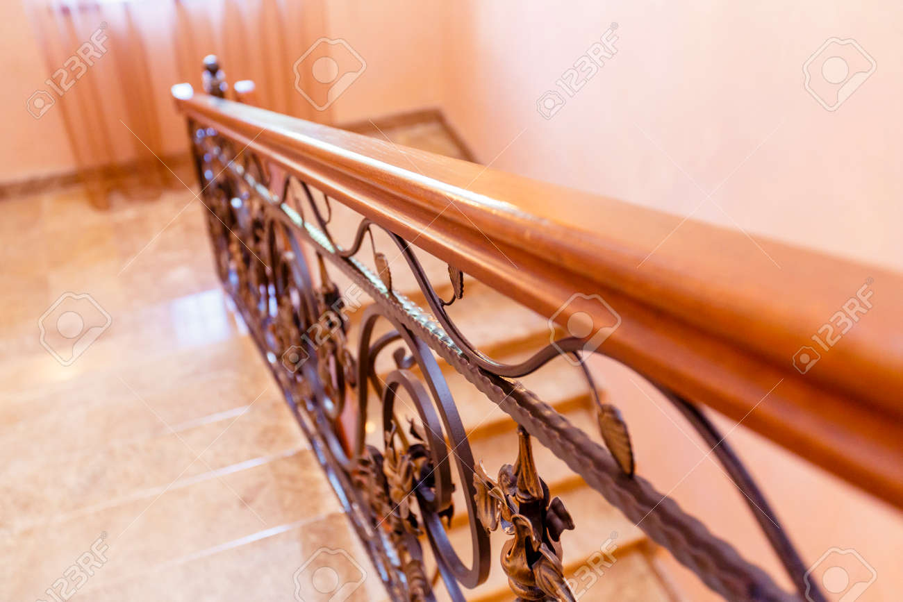 Image of: Wrought Iron Staircase In The Cottage Marble Steps Black Wrought Stock Photo Picture And Royalty Free Image Image 140309881