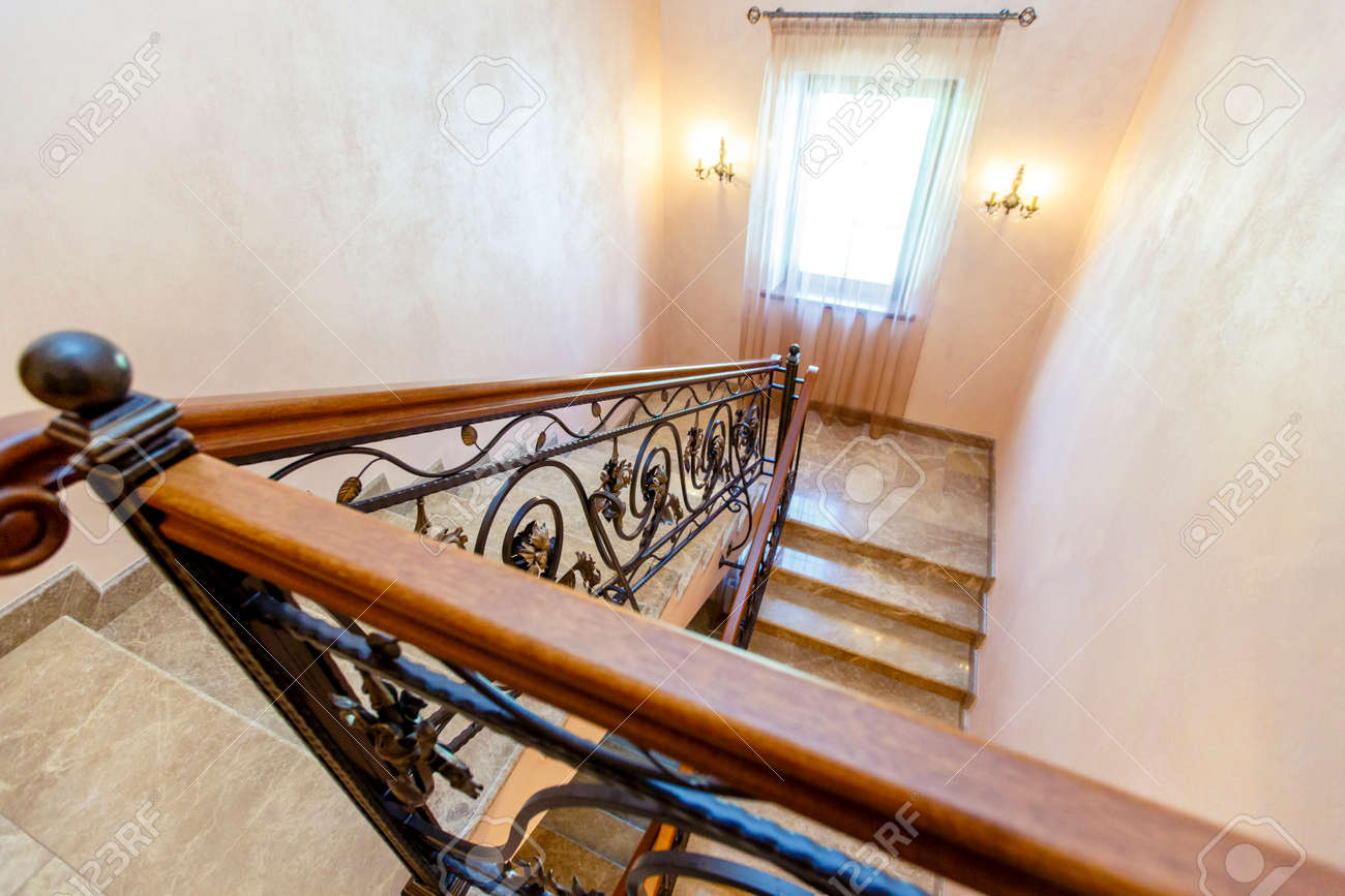 Image of: Wrought Iron Staircase In The Cottage Marble Steps Black Wrought Stock Photo Picture And Royalty Free Image Image 140416497
