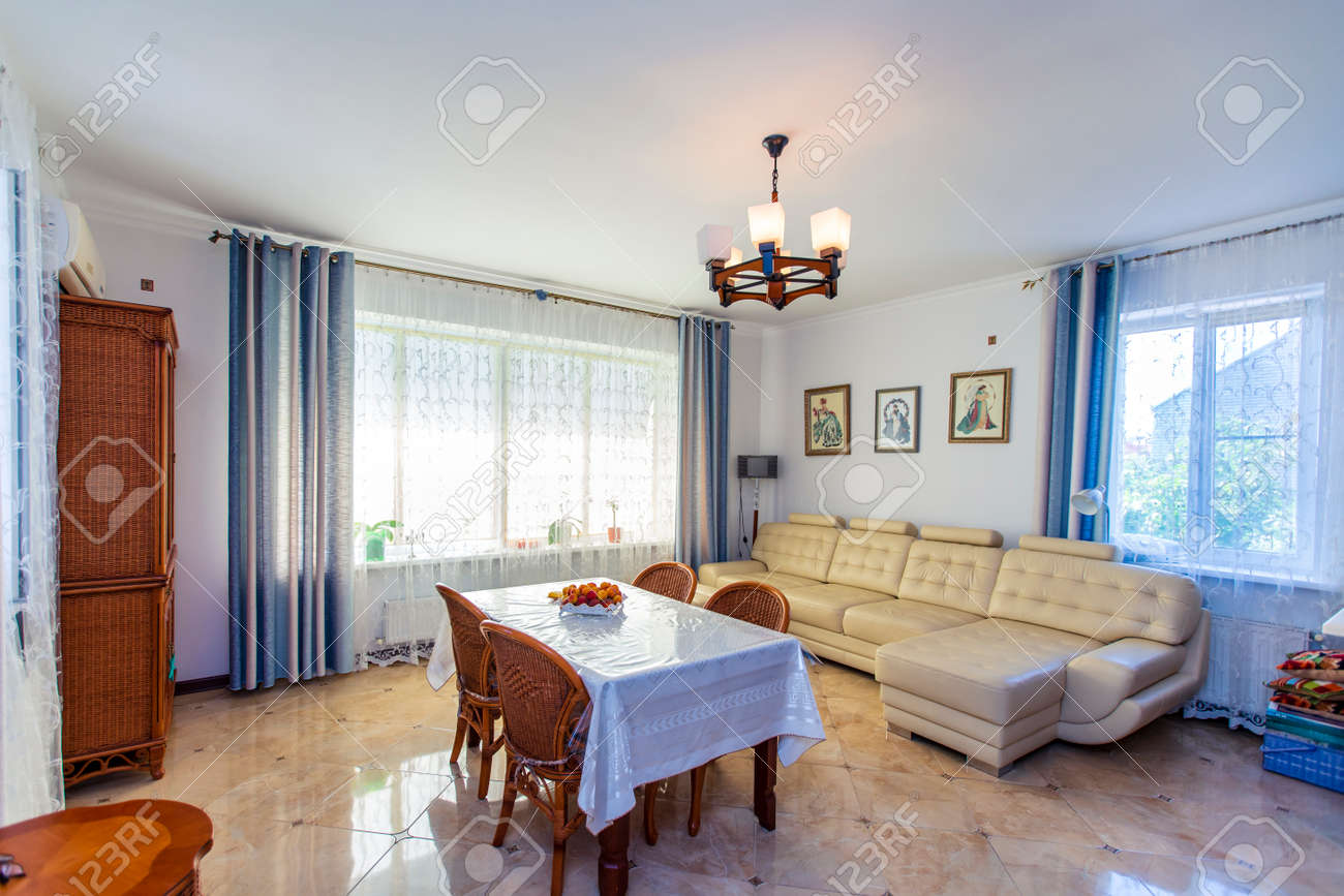 Large Bright Sunny Hall In The House In The Center Of The Room Stock Photo Picture And Royalty Free Image Image 142060982