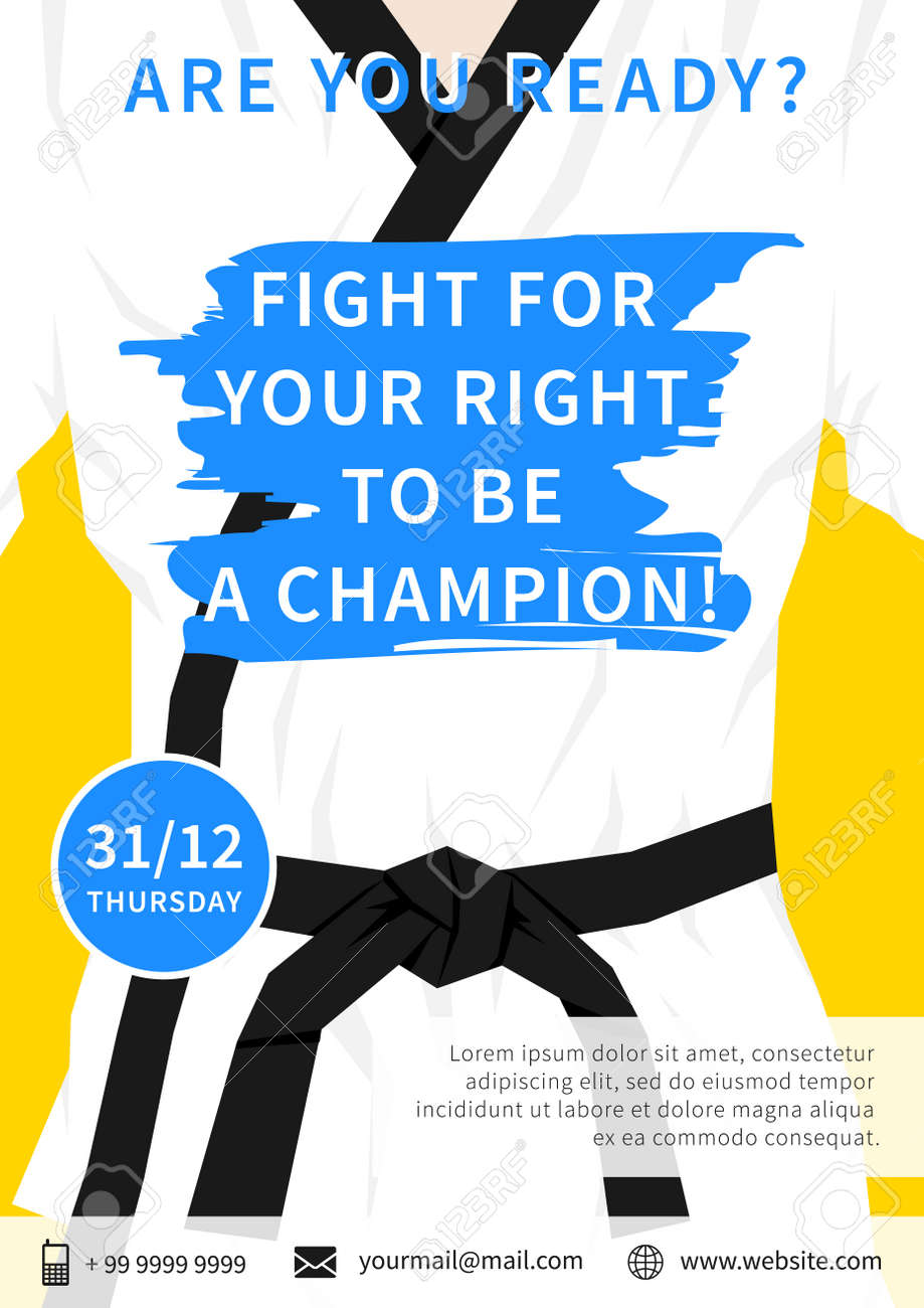 vector karate competition flyer template with slogan fight for