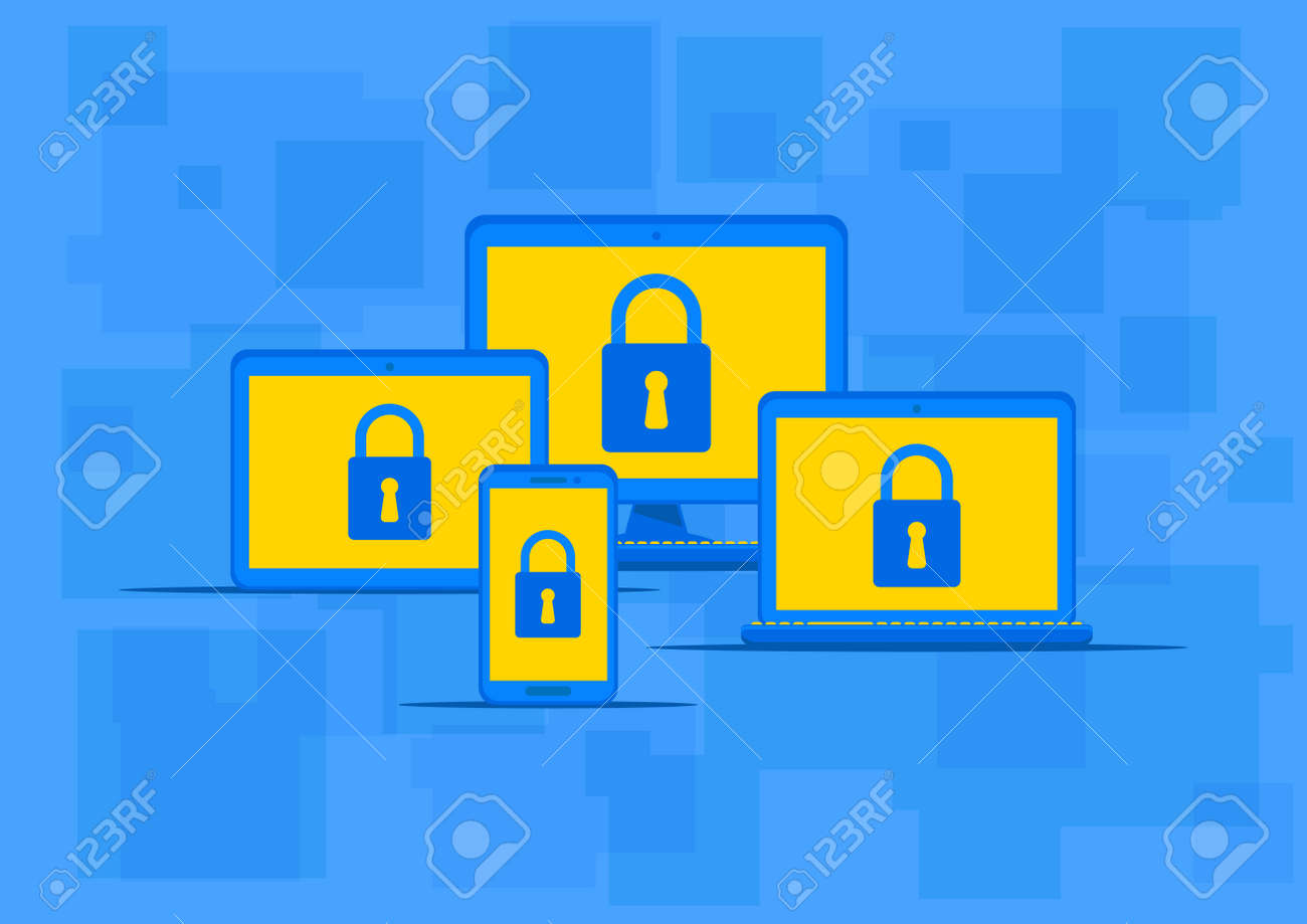 Electronic Devices Antivirus Protection Vector Illustration