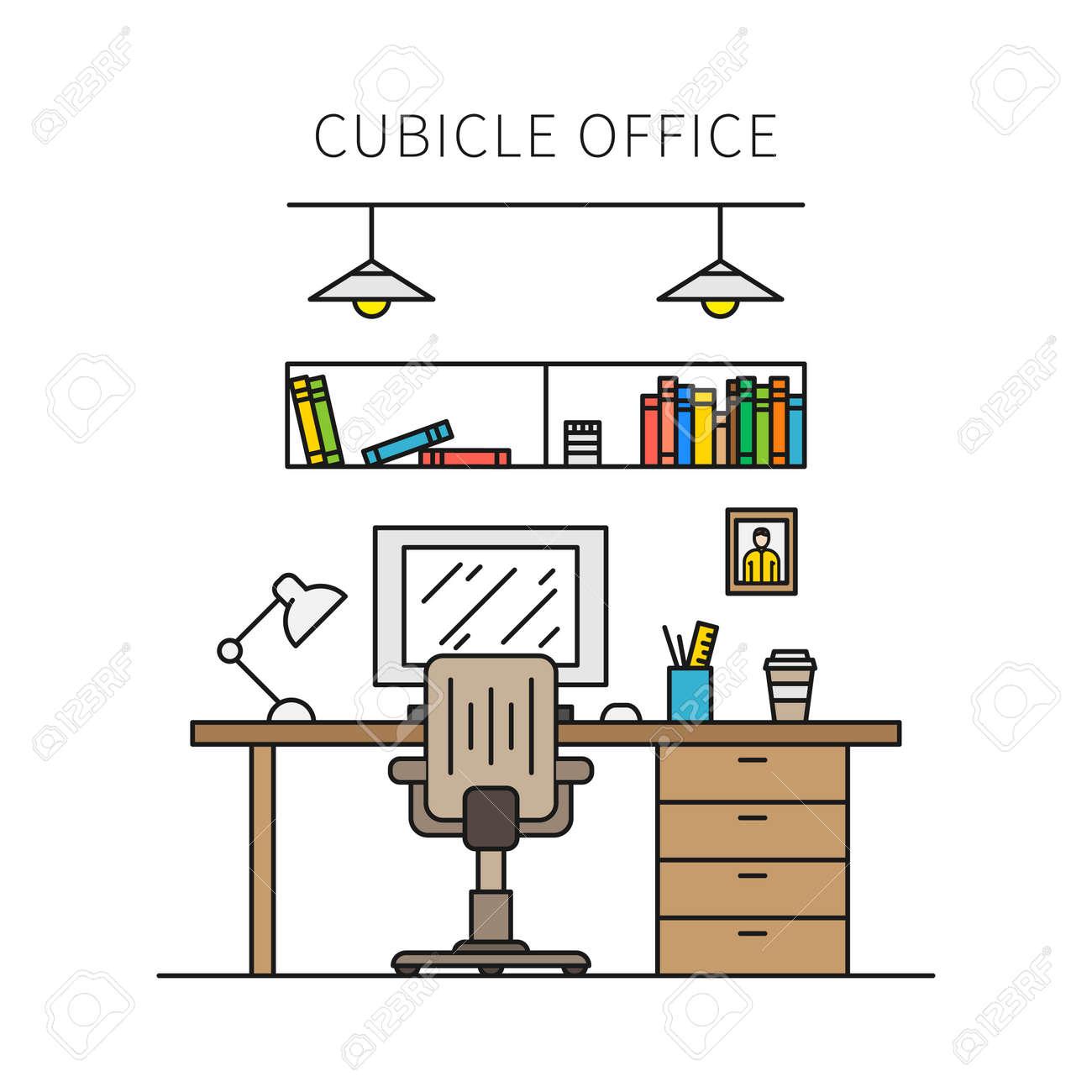 Oficina Equipos Ilustración VectorialIndividual De La Cubículo Con LámparaEscritorioMesaSilla Muebles Concepto Trabajo Y Lugar E2WDYHIe9