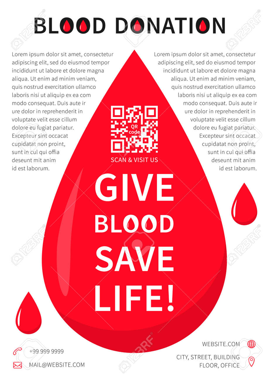 Poster design on blood donation - Blood Donation Poster Vector Template Blood Donation Banner Layout With Sample Text Big Red