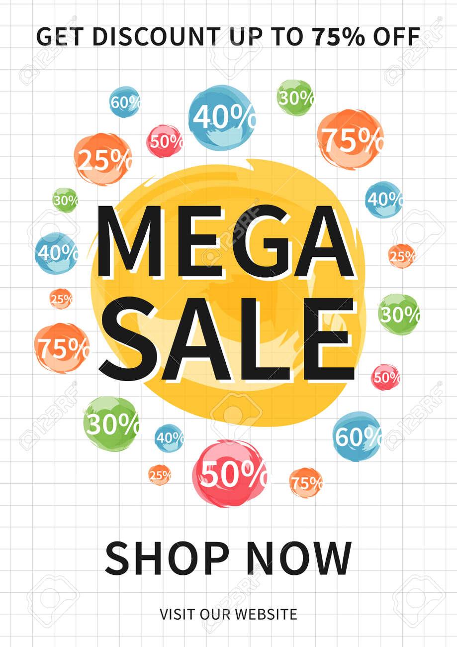 Vector Mega Sale Banner Mit Rabatt Zeichen Für Online Shops