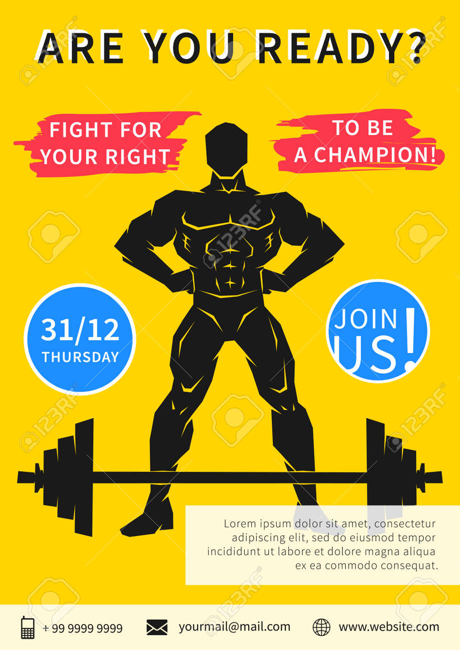 vector gym competition flyer template slogan fight for your vector vector gym competition flyer template slogan fight for your right to be a champion sport event gym fitness workout training power lifting