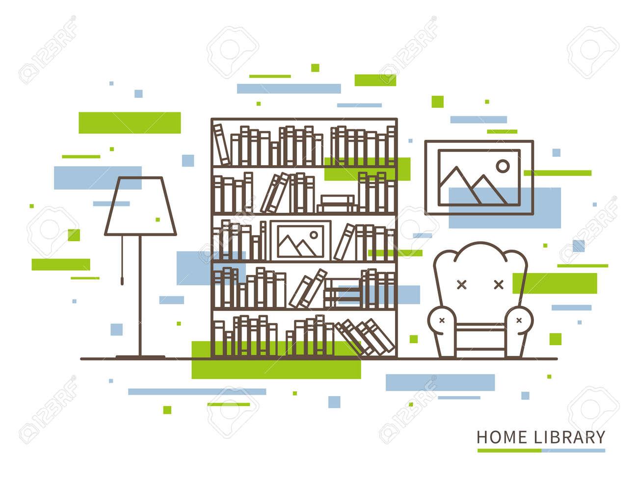 Linear Flat Interior Design Illustration Of Modern Designer Home