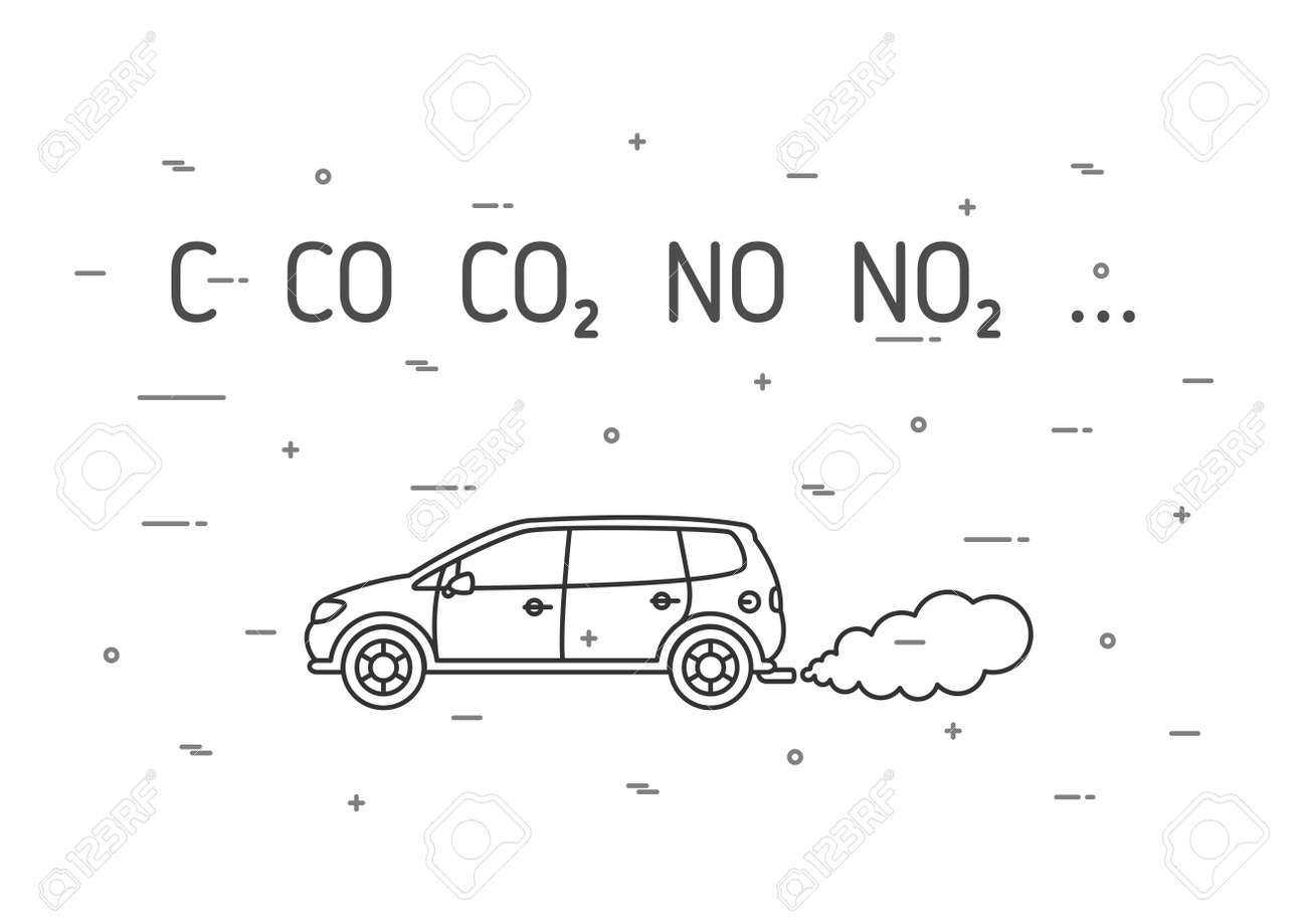 Car Exhaust Fumes Vector Illustration Co2 No2 Emissions Line