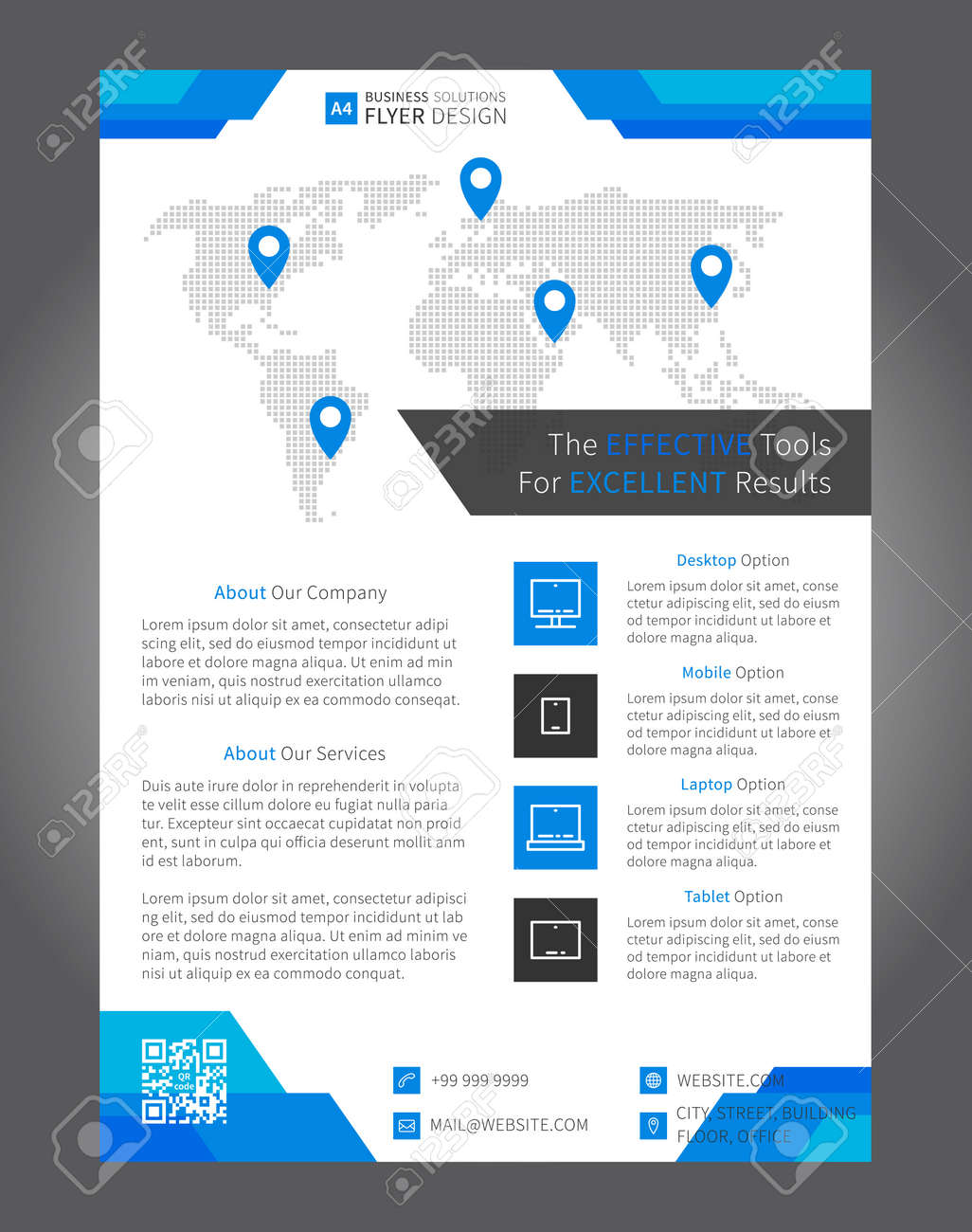 flyer leaflet layout vector design a4 size page with sample text icons flyer