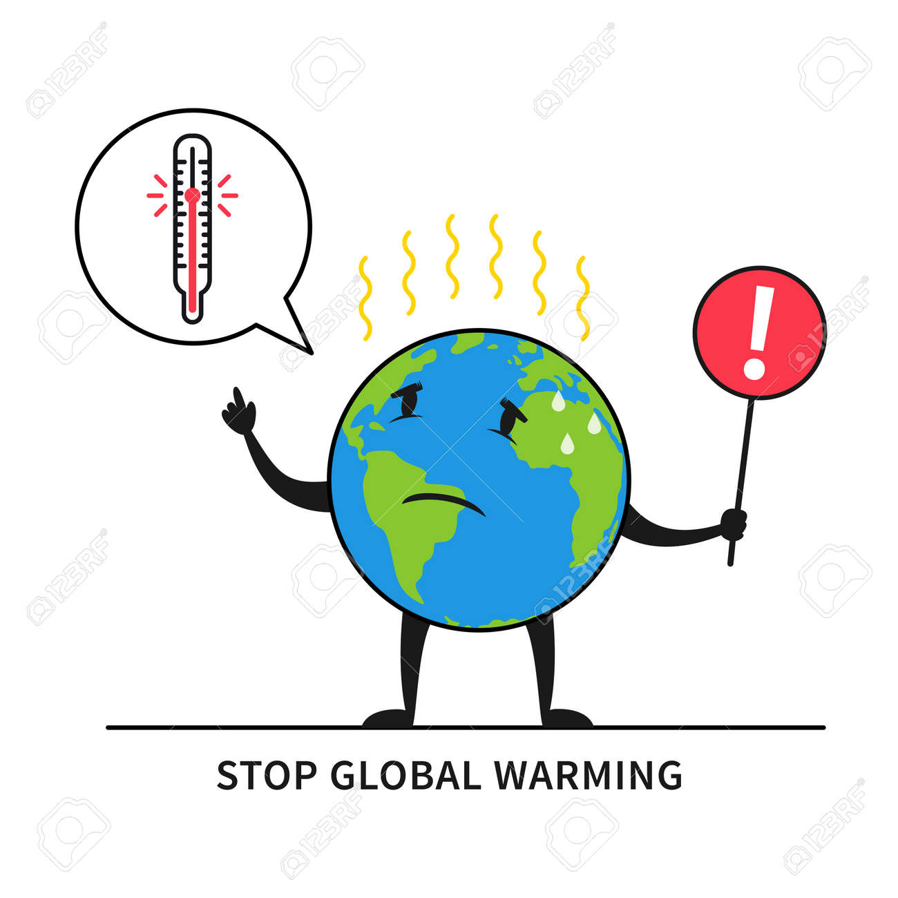 Stop Global Warming Vector Illustration Planet Earth Feels Hot