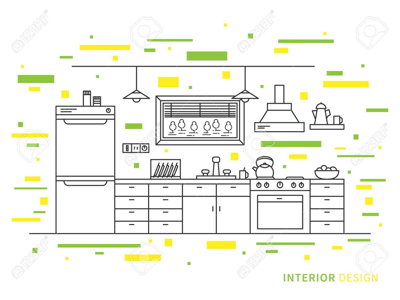 Linear Flat Interior Design Illustration Of Modern Designer Kitchen