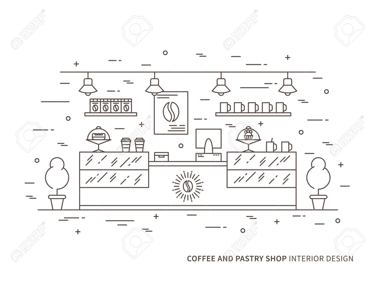 Linear Flat Interior Design Illustration Of Modern Coffee And Royalty Free Cliparts Vectors And Stock Illustration Image 74569019