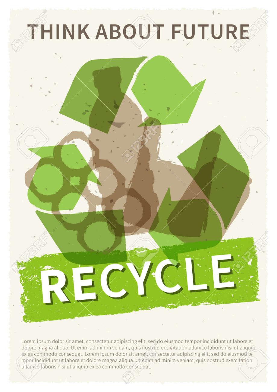 Reciclar Ilustración De Vector De Basura Plásticos Y Basura De Metal Reciclaje Cartel Creativo Con Texto De Ejemplo Botella Lata Bolsa De Plástico