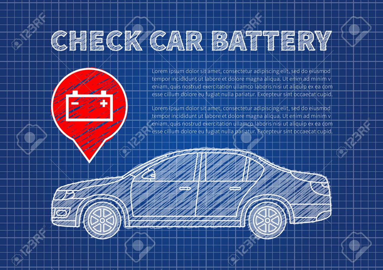 Check Car Battery Vector Illustration. Accumulator Sign Blue ...