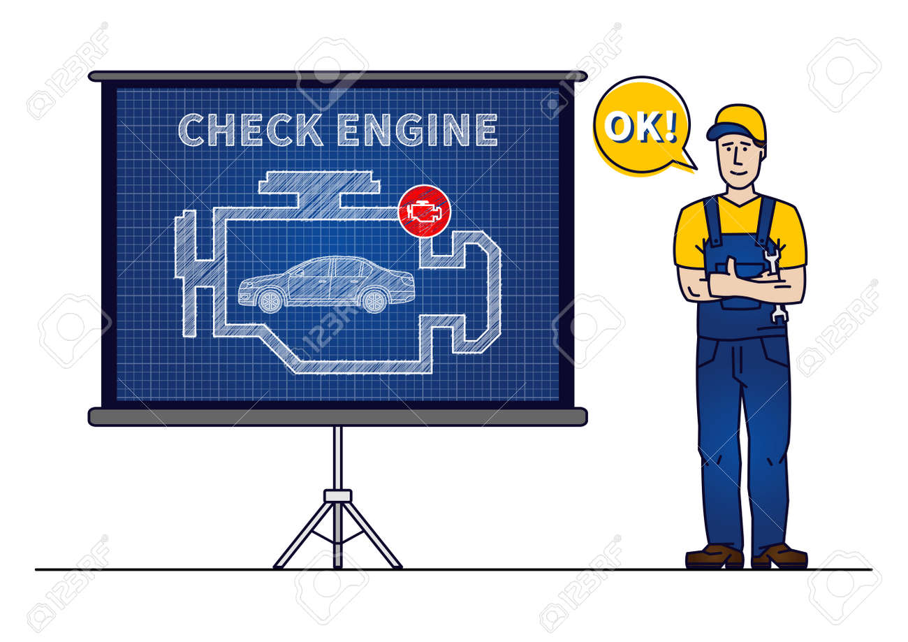 Serviceman with check engine chart board vector illustration