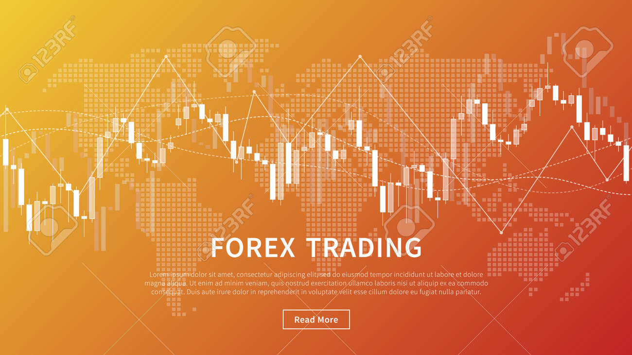 Candle stick chart of financial market trade vector banner. Forex trading graph with world map for fintech project graphic design. - 110374751