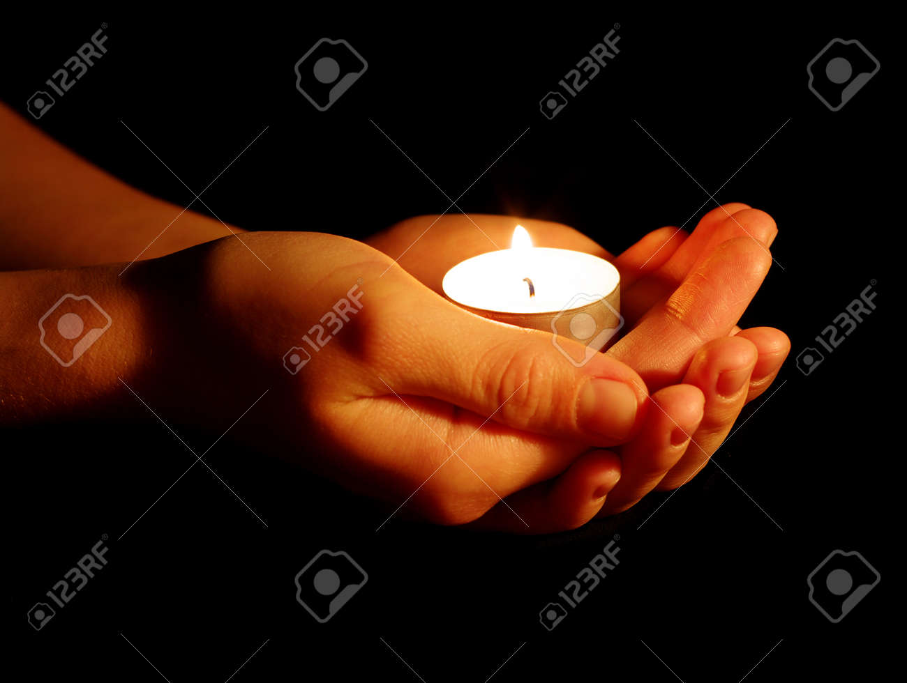 Burning Of The Candle In A Hand In Darkness Stock Photo, Picture ... for Holding Candle In The Dark  575cpg