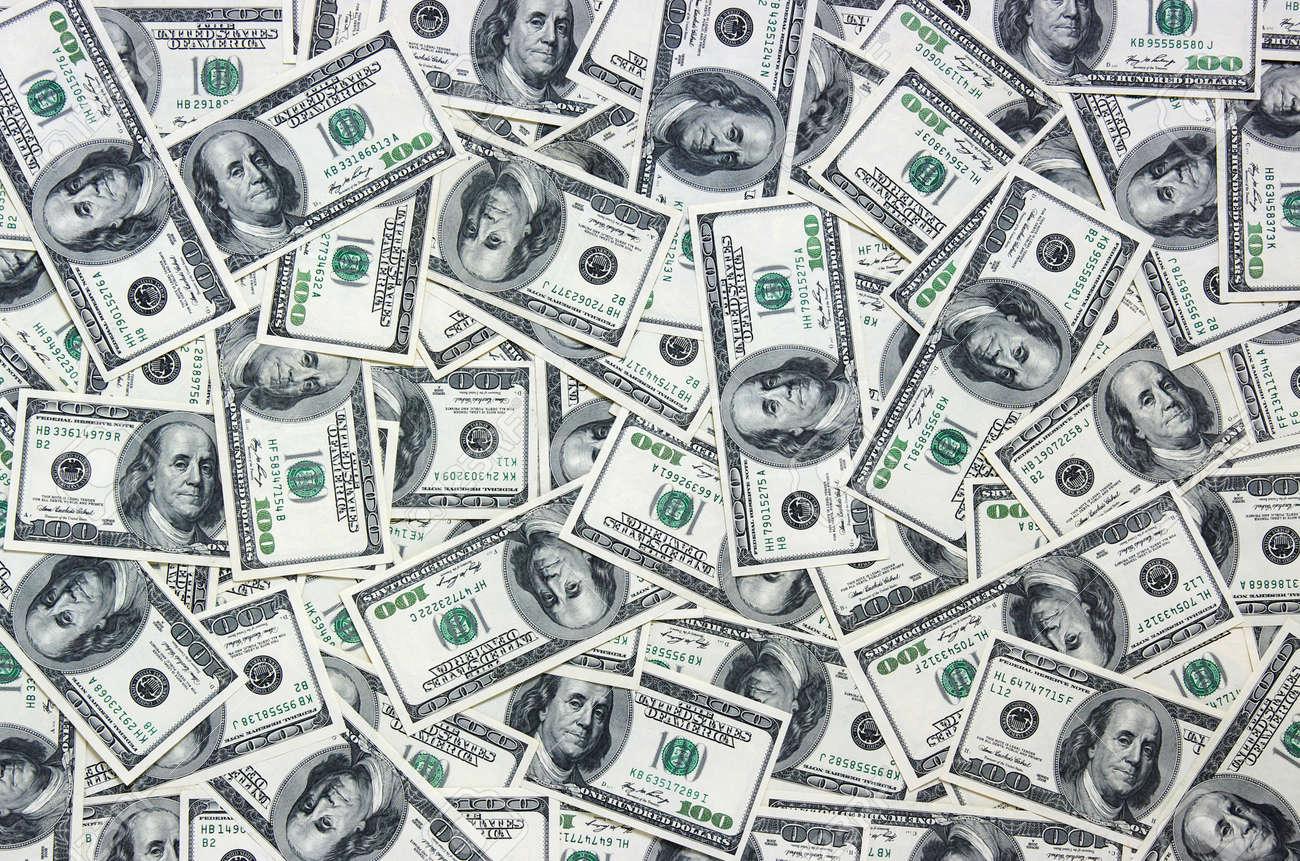 tas de dollars, fond argent Banque d'images - 27107863