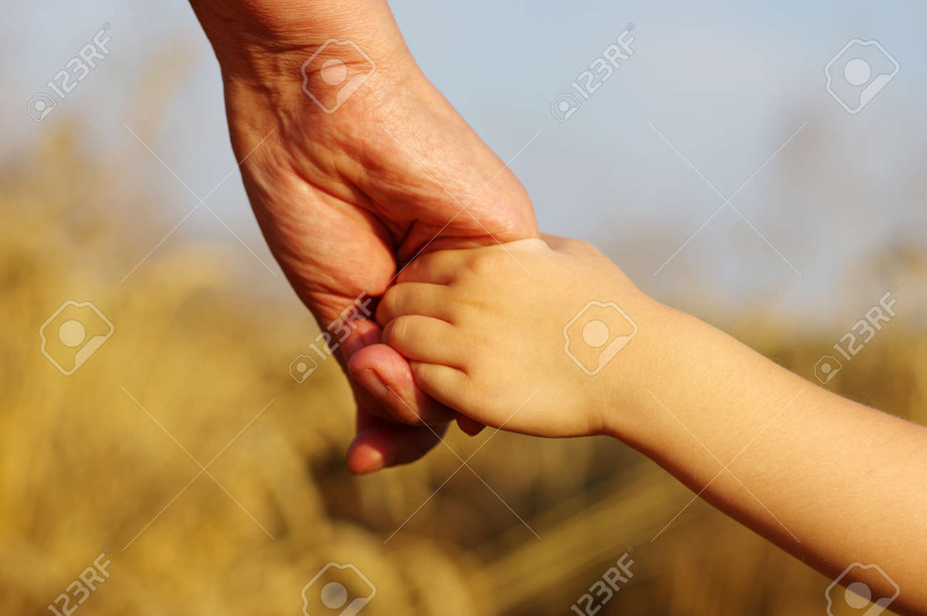 Hands of mother and daughter holding each other on field Banque d'images - 49026461