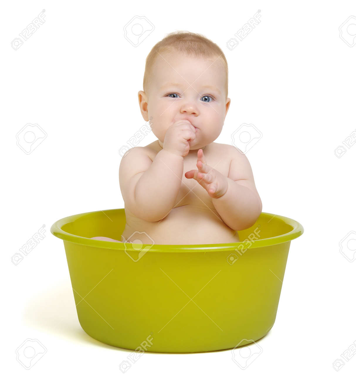Cute Baby Having Bath In The Tub Stock Photo, Picture And Royalty ...