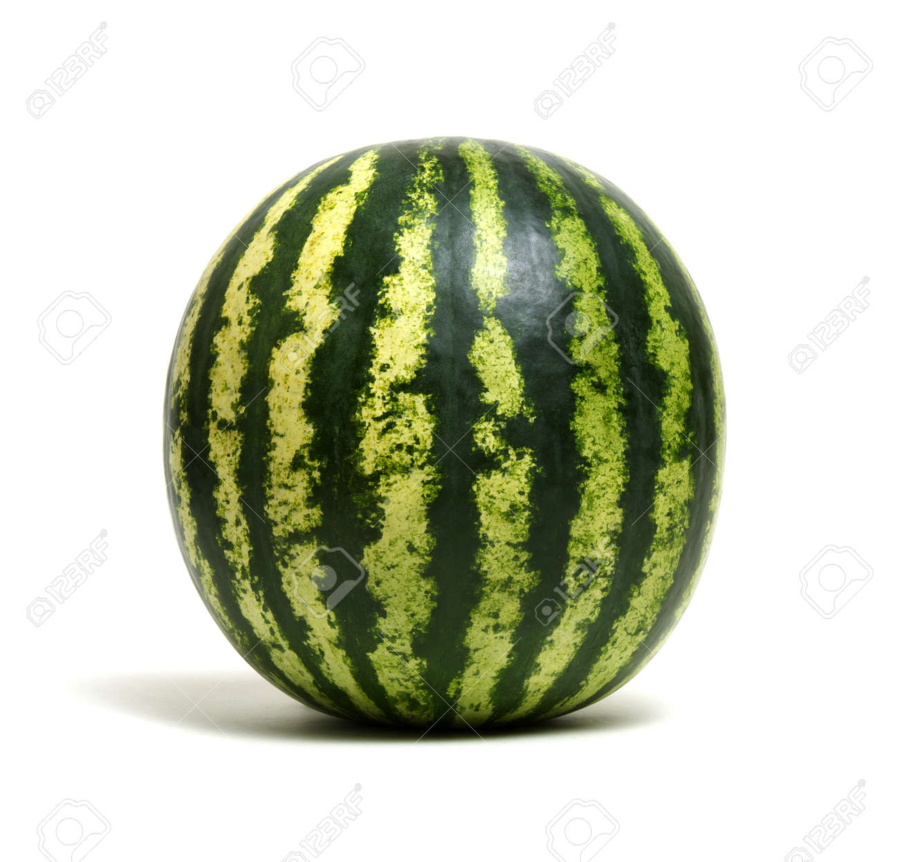 Ripe striped watermelon isolated on white - 100473747