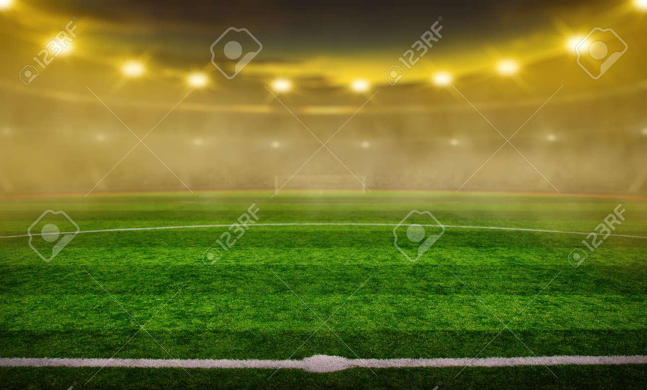 Soccer stadium with illumination, green grass and night blurred sky - 155660879