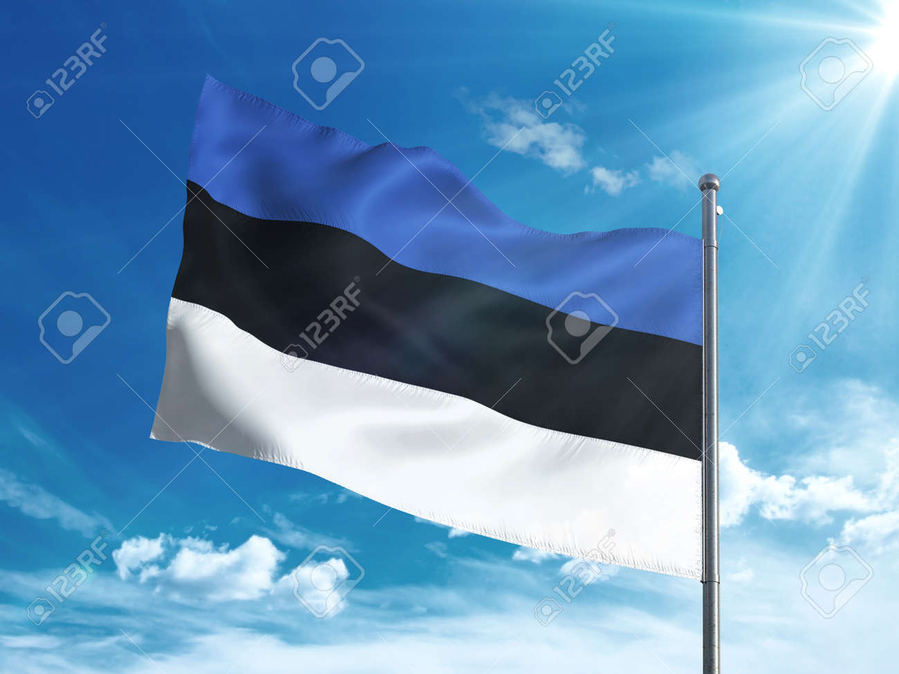 Estonia flag waving in the blue sky - 82914170