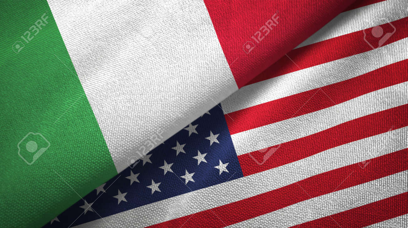 Italy and United States flags together relations textile cloth, fabric texture - 118063479